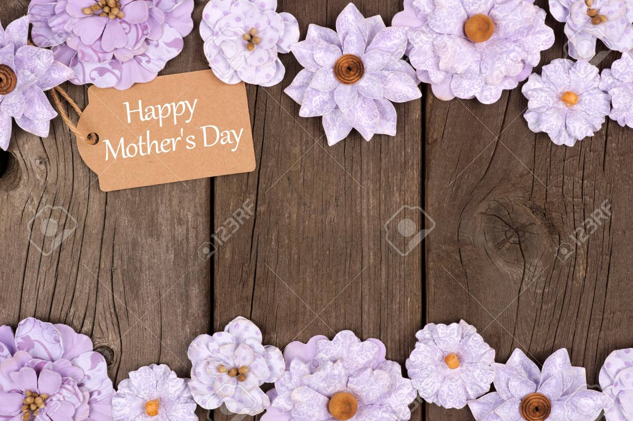 Happy Mothers Day Gift Tag With Rustic Paper Flower Double Border Over A Wood Background Stock