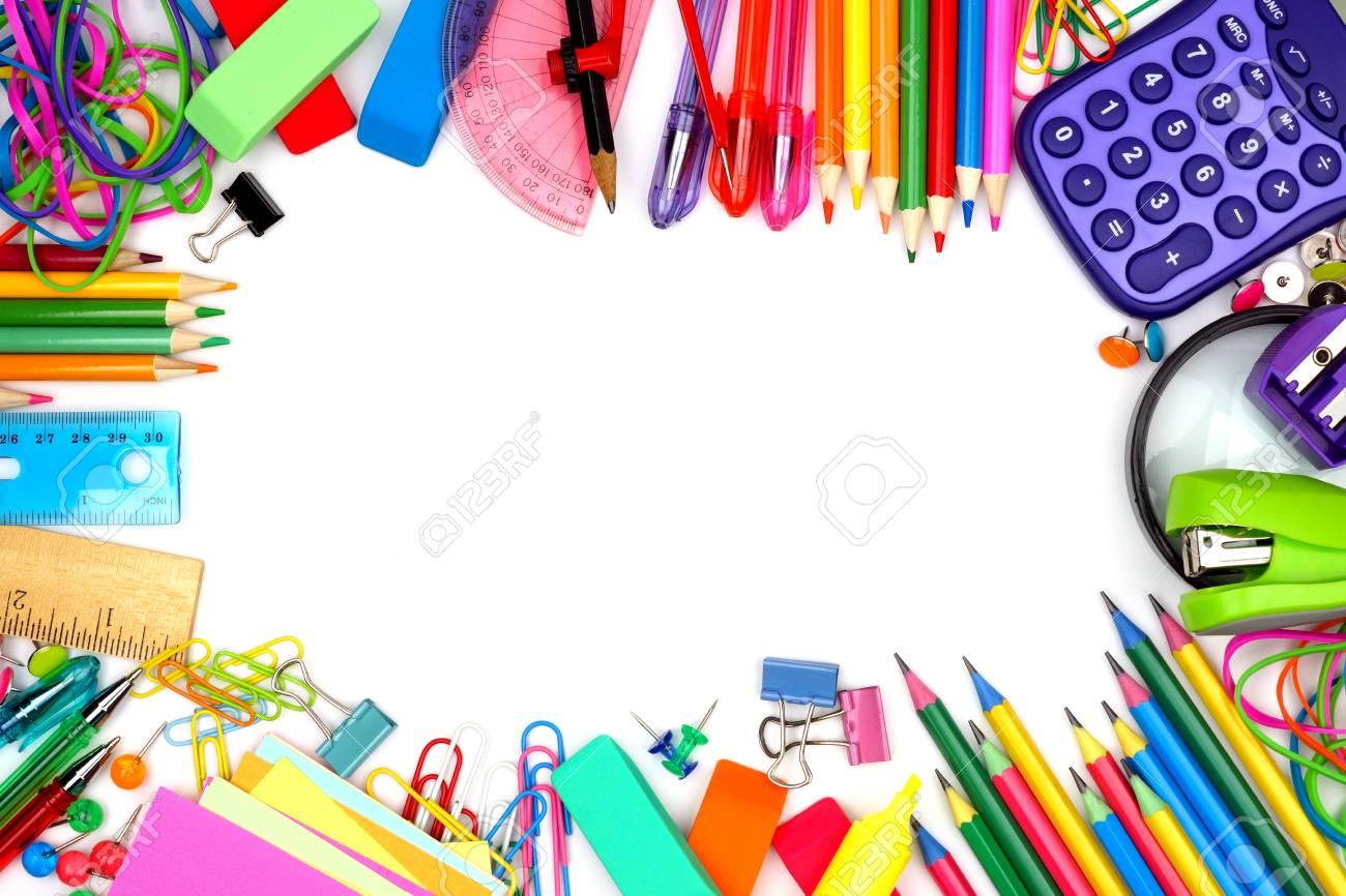 Bunte Schule Liefert Rahmen Vor Einem Weißen Hintergrund Lizenzfreie ...