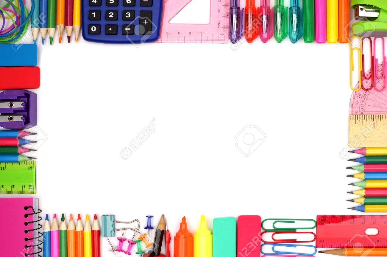 Zurück Zu Schule Schule Liefert Rahmen Vor Einem Weißen Hintergrund ...
