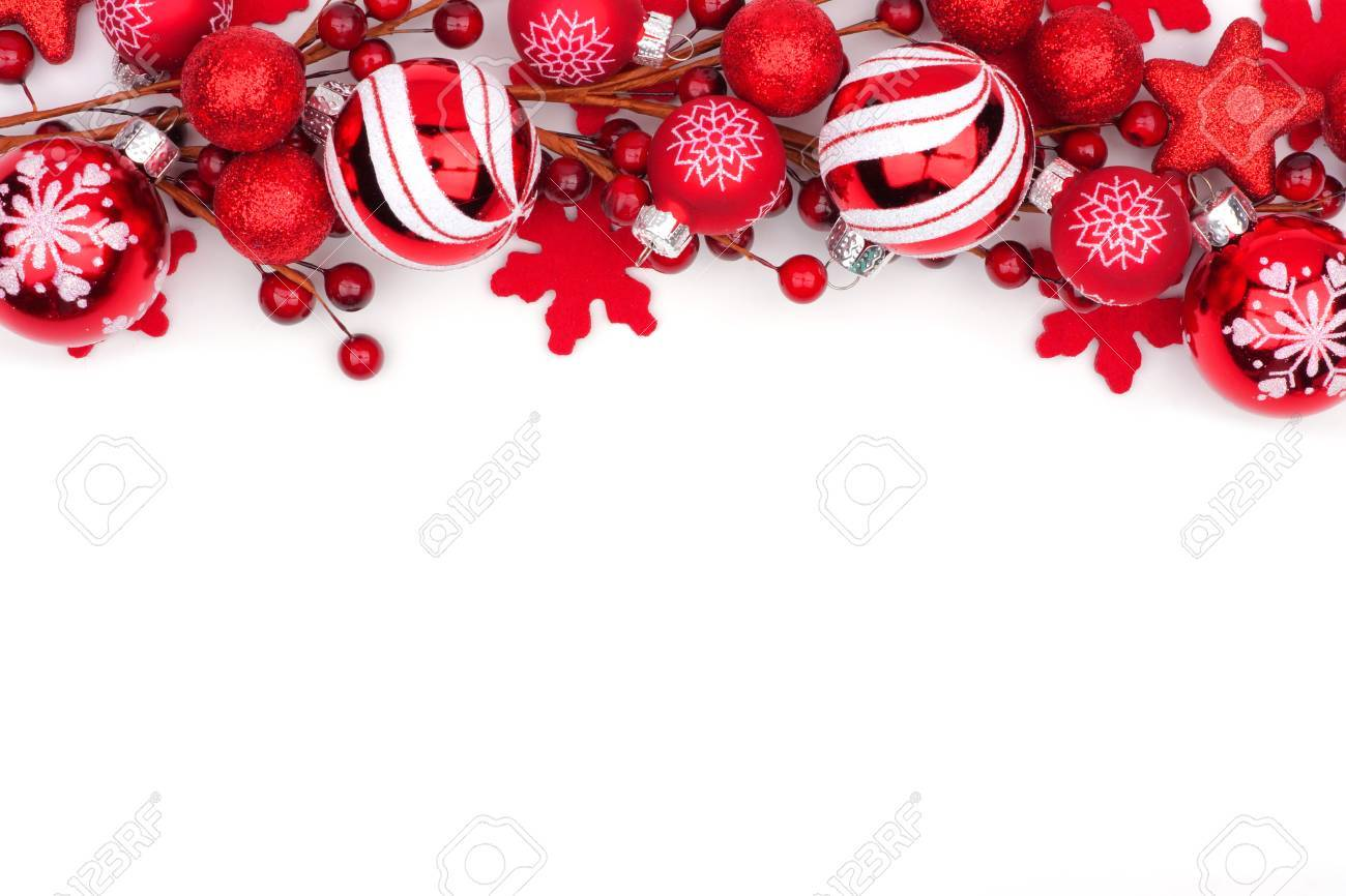Christmas Top Border.Christmas Top Border Of Red Ornaments Isolated On A White Background