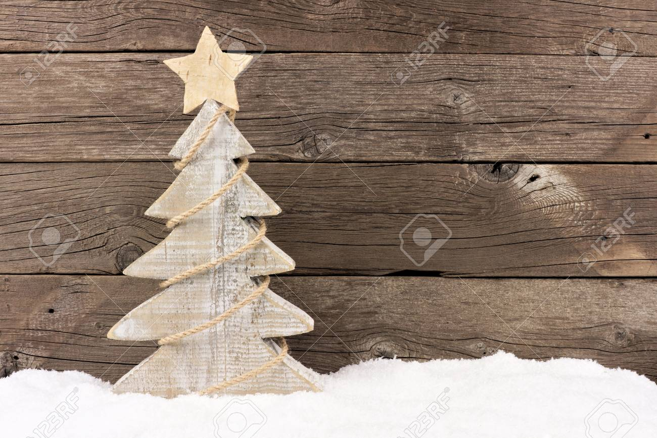 Wooden Christmas Trees.Shabby Chic Wooden Christmas Tree With Twine Garland Standing