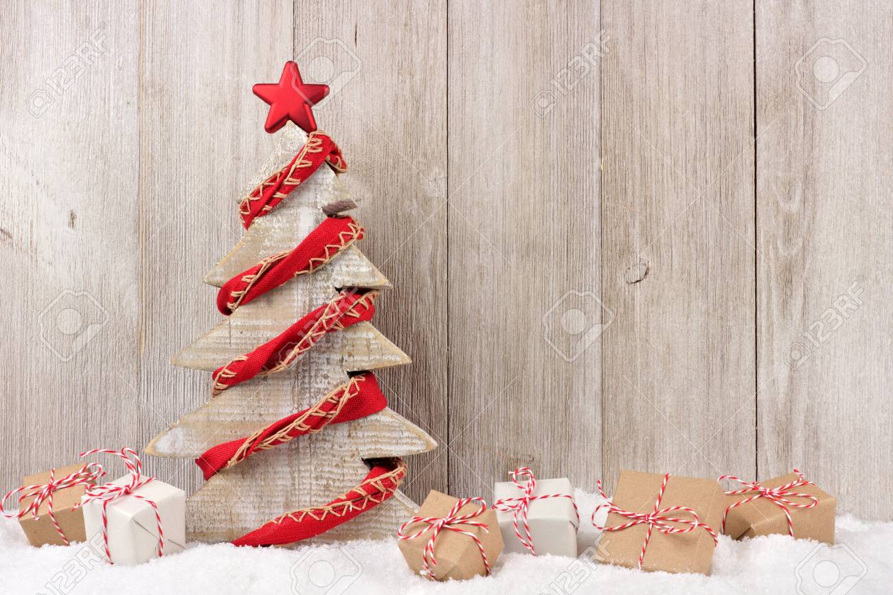 Shabby Chic Wooden Christmas Tree With Rustic Red Garland And Stock Photo Picture And Royalty Free Image Image 88474796
