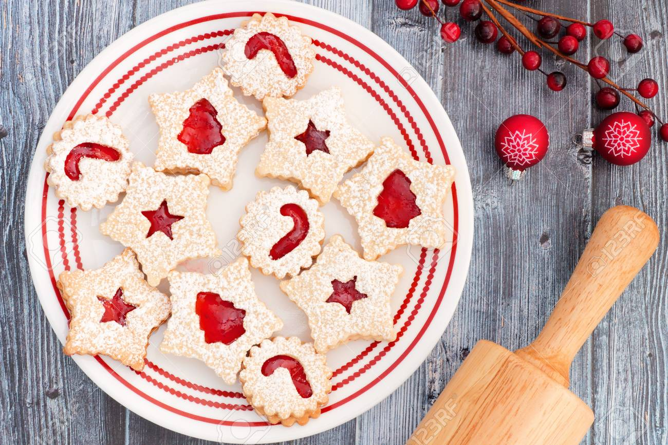 Christmas Jam Filled Cookies Overhead Scene On A Rustic Old