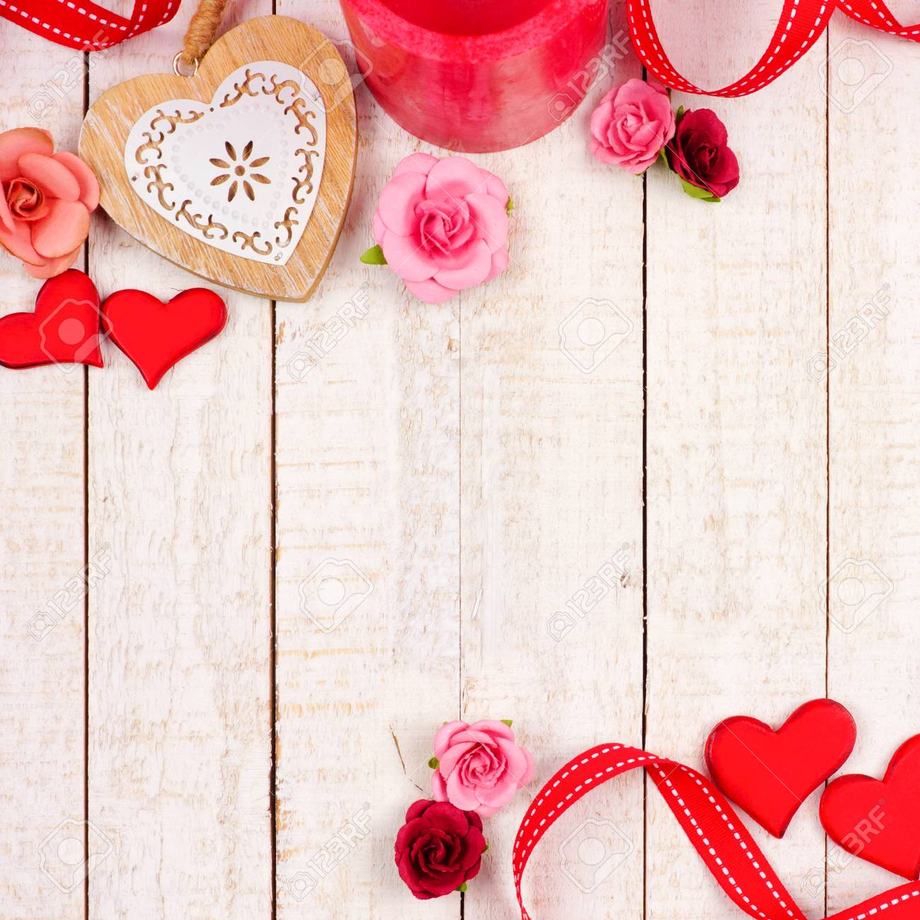 Valentines Day Corner Border Of Hearts Flowers Gifts And Decor
