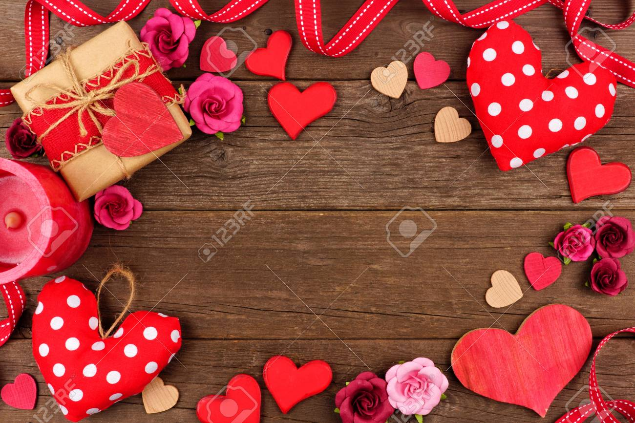 Valentines Day Frame Of Hearts Gifts Flowers And Decor Against