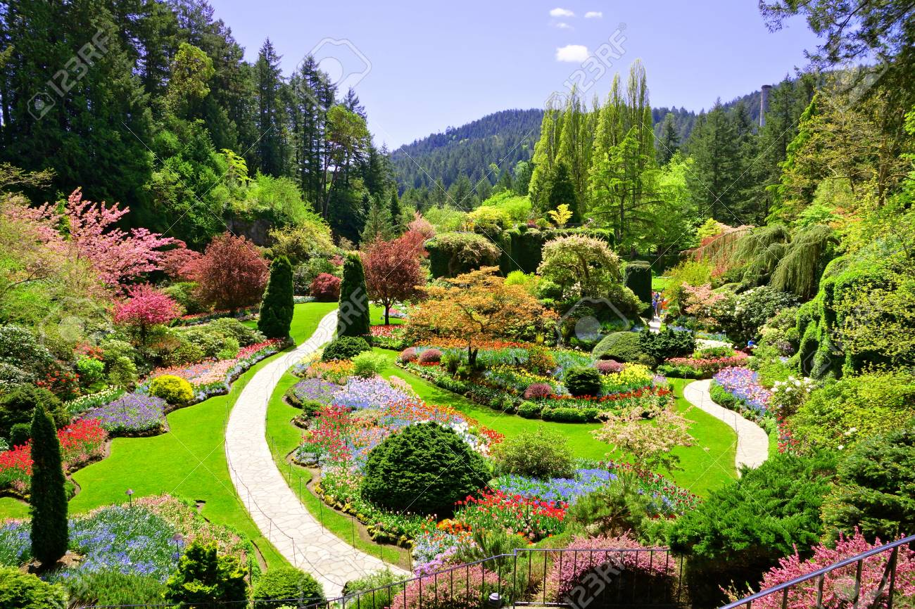Butchart gardens victoria canada view over the colorful flowers butchart gardens victoria canada view over the colorful flowers of the sunken garden thecheapjerseys Image collections
