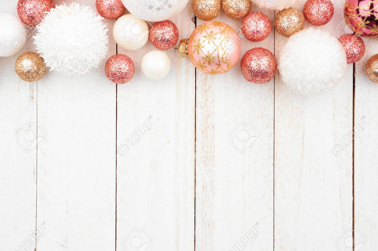 Christmas Top Border.Christmas Top Border Of Rose Gold White And Gold Ornaments On