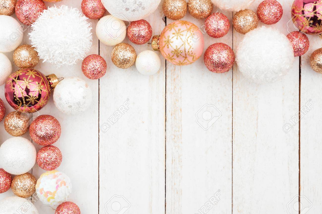 Christmas Corner Border Of Rose Gold White And Gold Ornaments