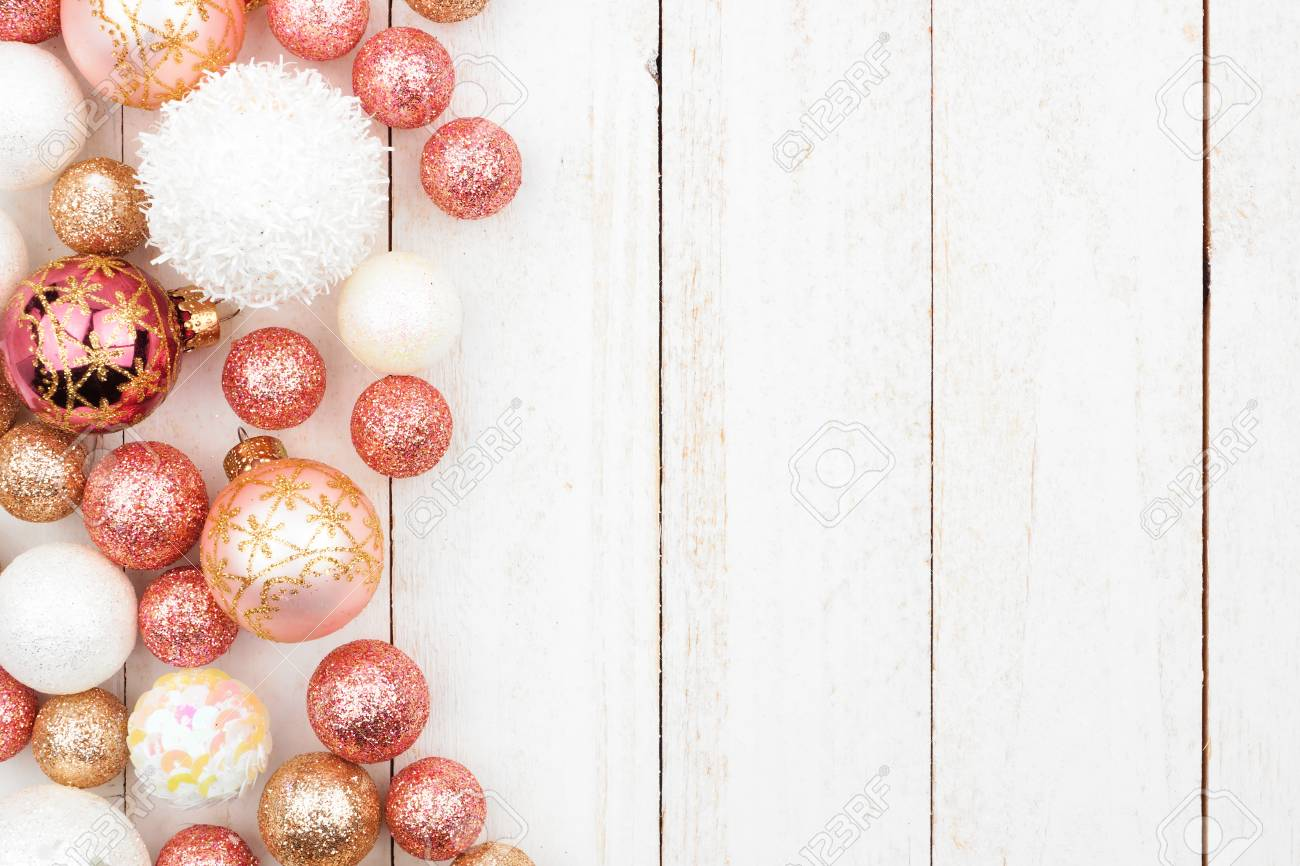 Christmas Side Border Of Rose Gold White And Gold Ornaments