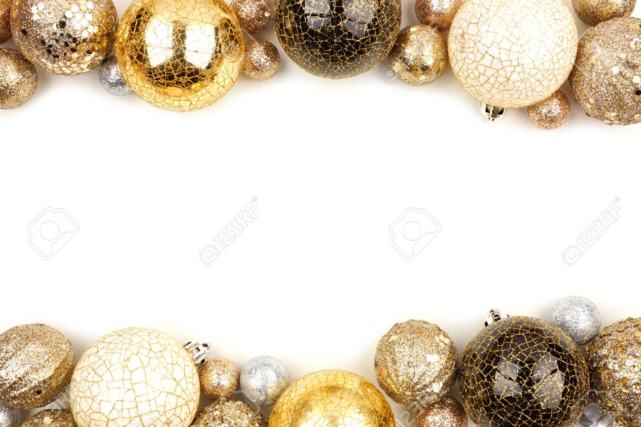 new years eve double border of gold black and white ornaments over a white background