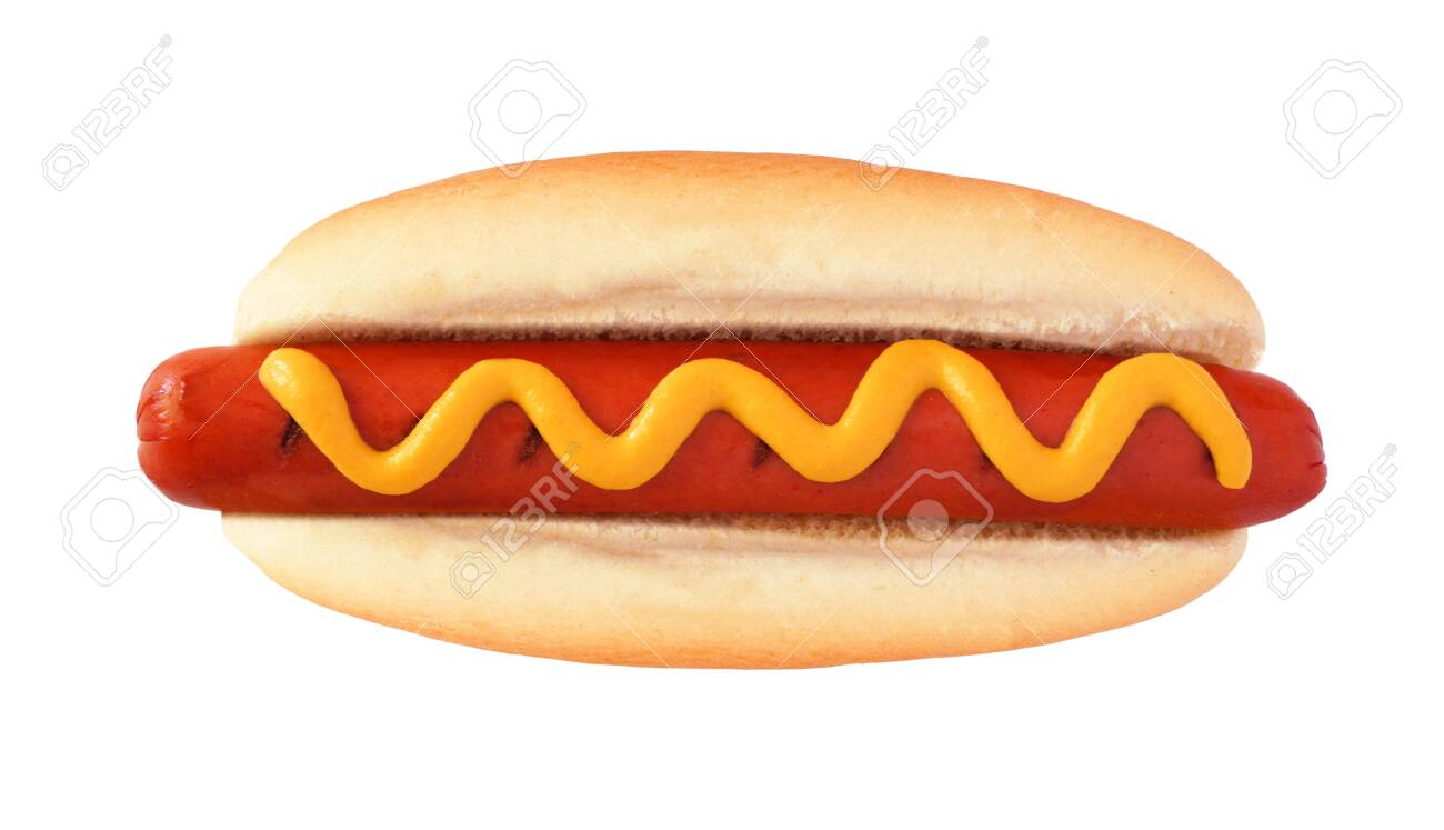 Hot dog with mustard, top view isolated on a white - 125107168