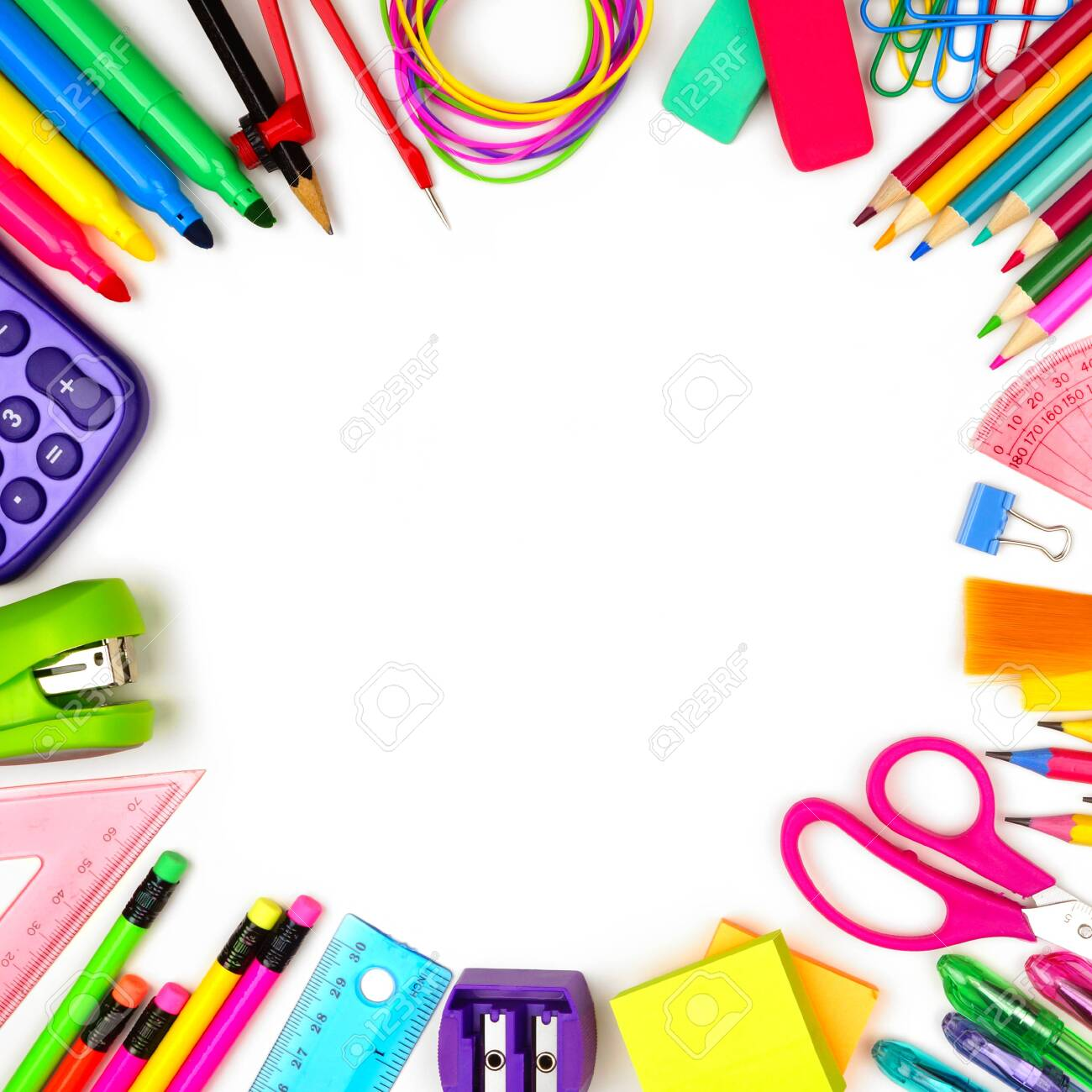 School supplies square frame, top view isolated on a white background with copy space, back to school concept - 126663629