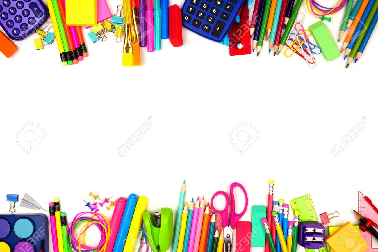 School supplies double border, top view isolated on a white background with copy space, back to school concept - 126663628