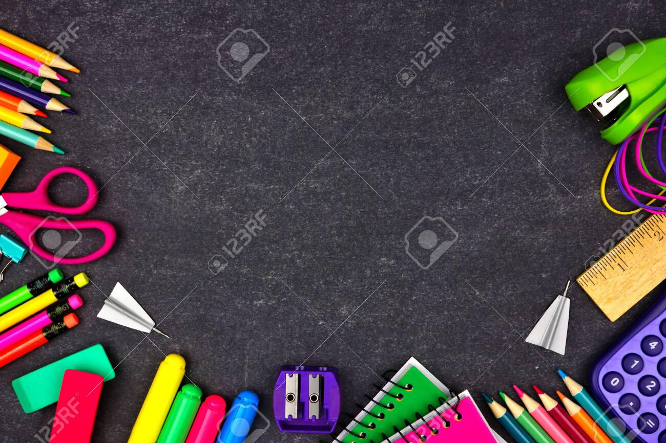 School supplies border frame, top view on a chalkboard background with copy space, back to school concept - 126663792
