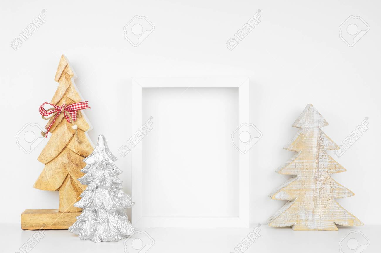 Mock Up White Frame With Wooden Christmas Tree Decorations On Stock Photo Picture And Royalty Free Image Image 133441216