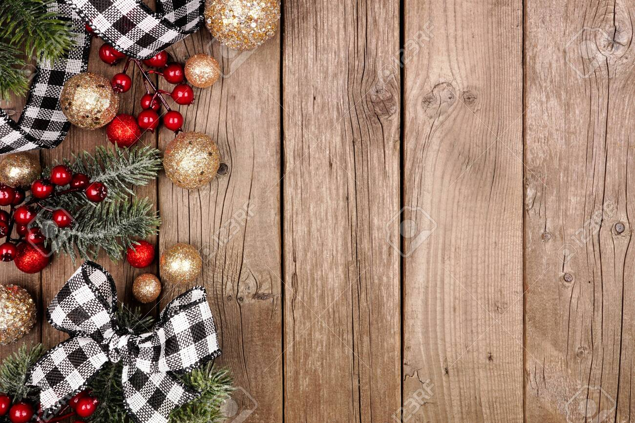 Christmas Side Border With White And Black Checked Buffalo Plaid Stock Photo Picture And Royalty Free Image Image 134115368