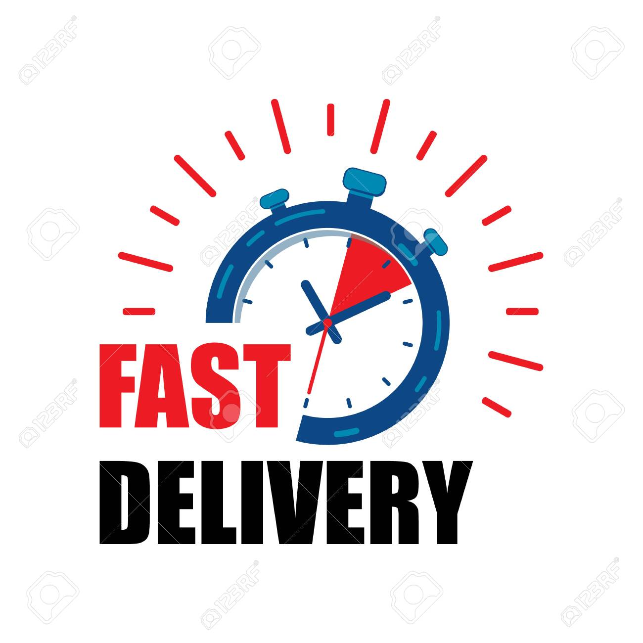 Fast delivery watch service with red arrows. Express fast delivery service stopwatch icon vector eps10. fast Delivery watch. - 120264684