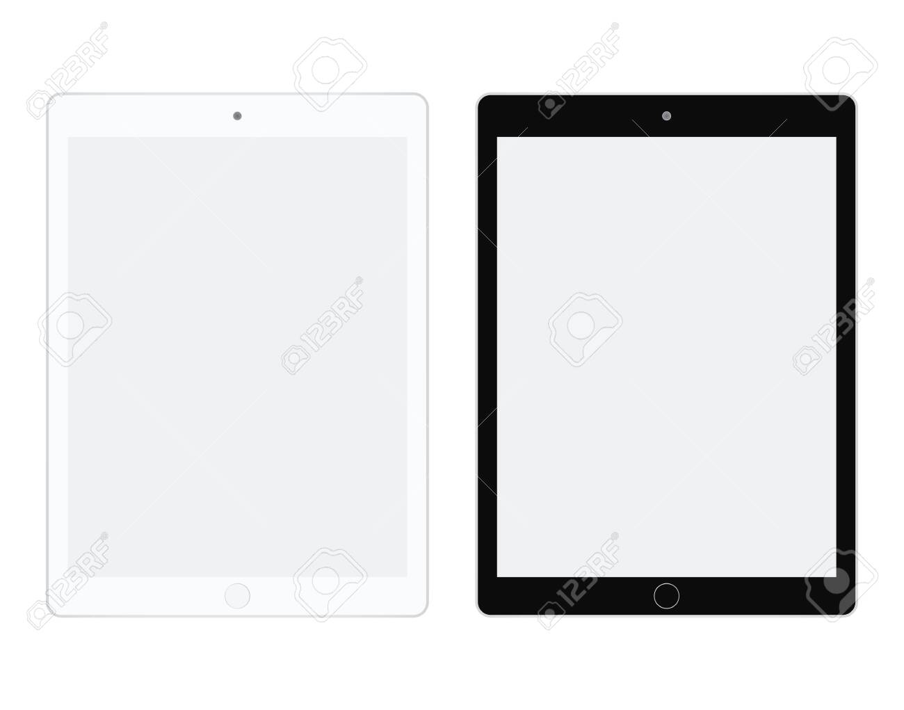 Tablet in white and black color vector. Tablet set flat style. Two I tablet white and black set. - 120265313