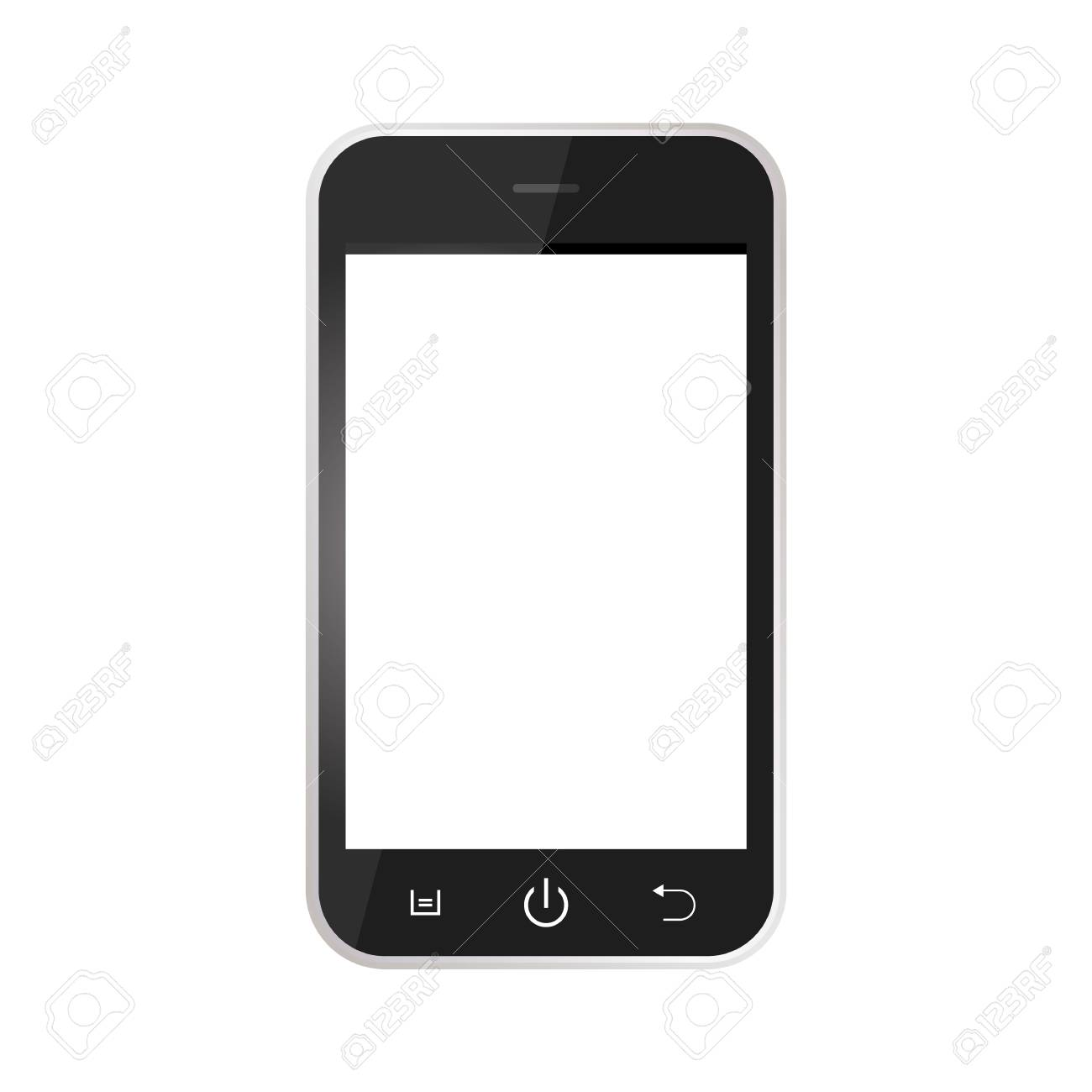 Black Realistic mobile phone with blank screen isolated on white background. Black Smartphone with white screen vector - 121279595