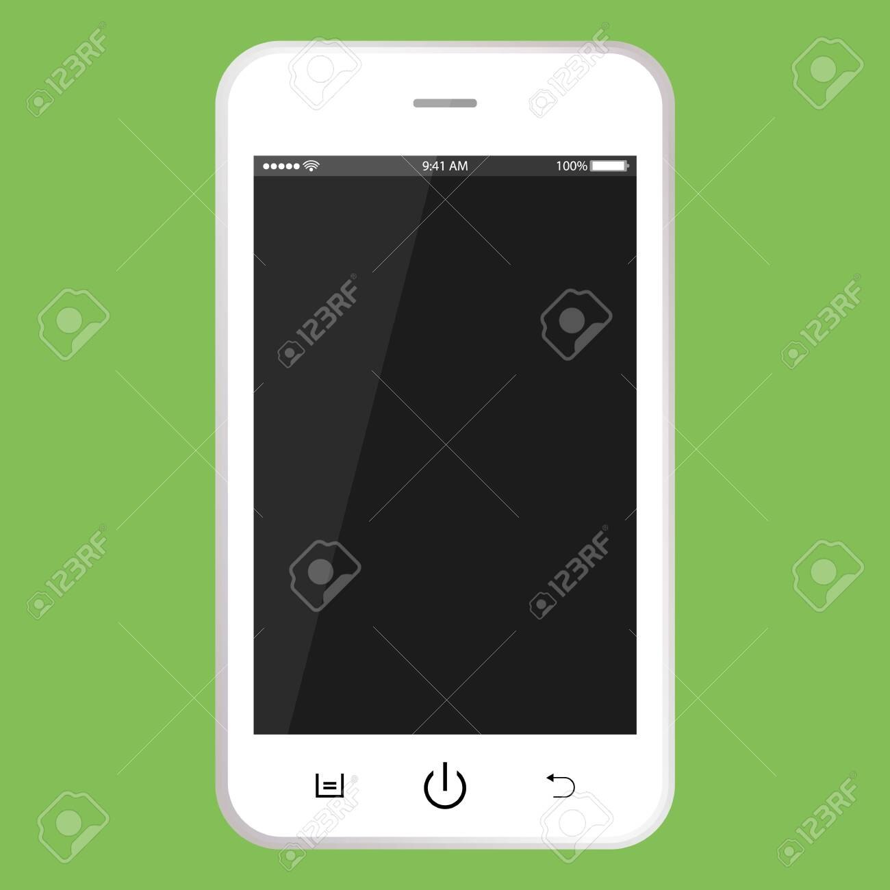White mobile phone with black screen. Smartphone with buttons, time, battery vector . realistic Smartphone. - 121279619