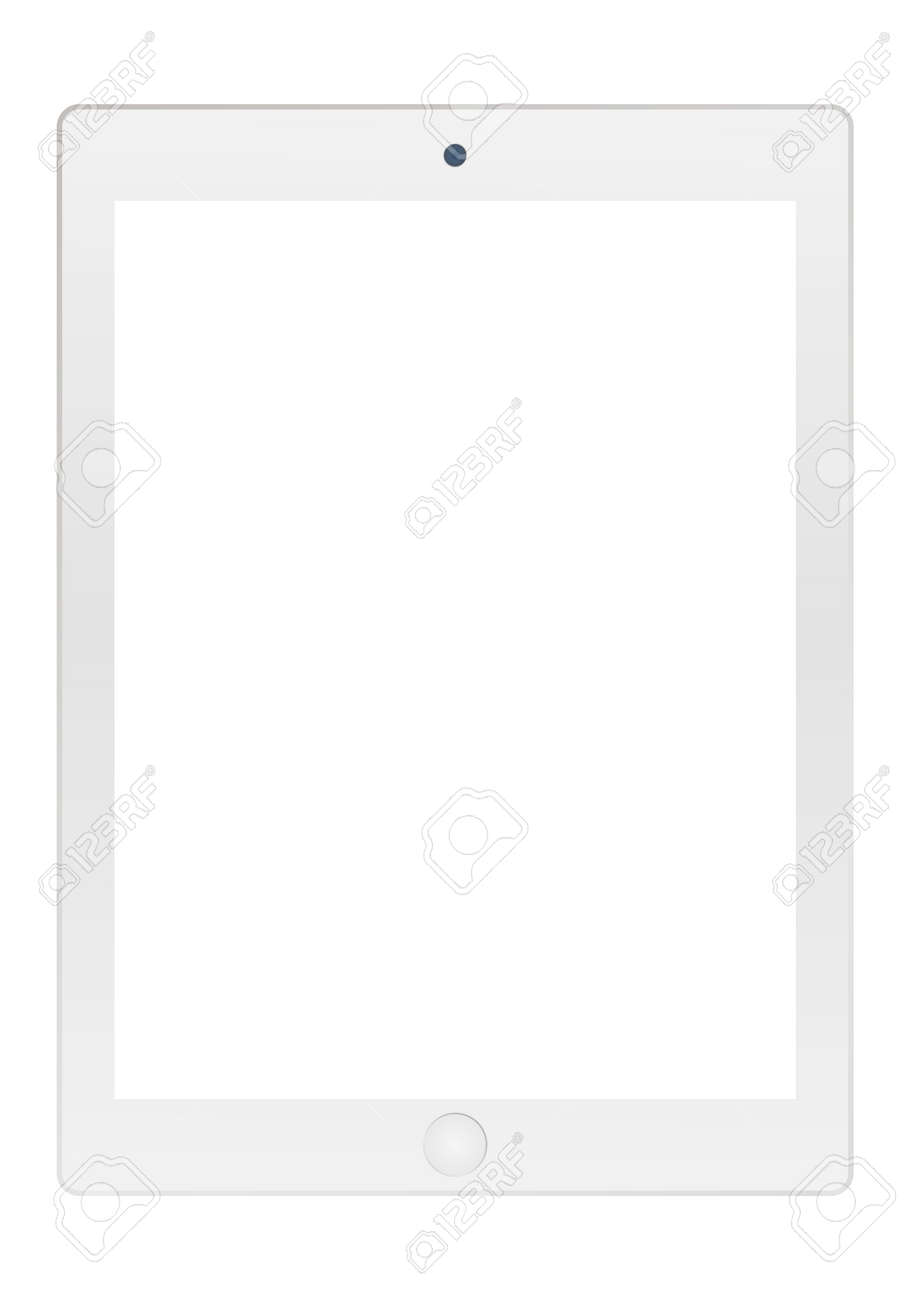 Grey tablet with empty white screen and camera icon vector . Grey Tablet vector flat style. - 121279537