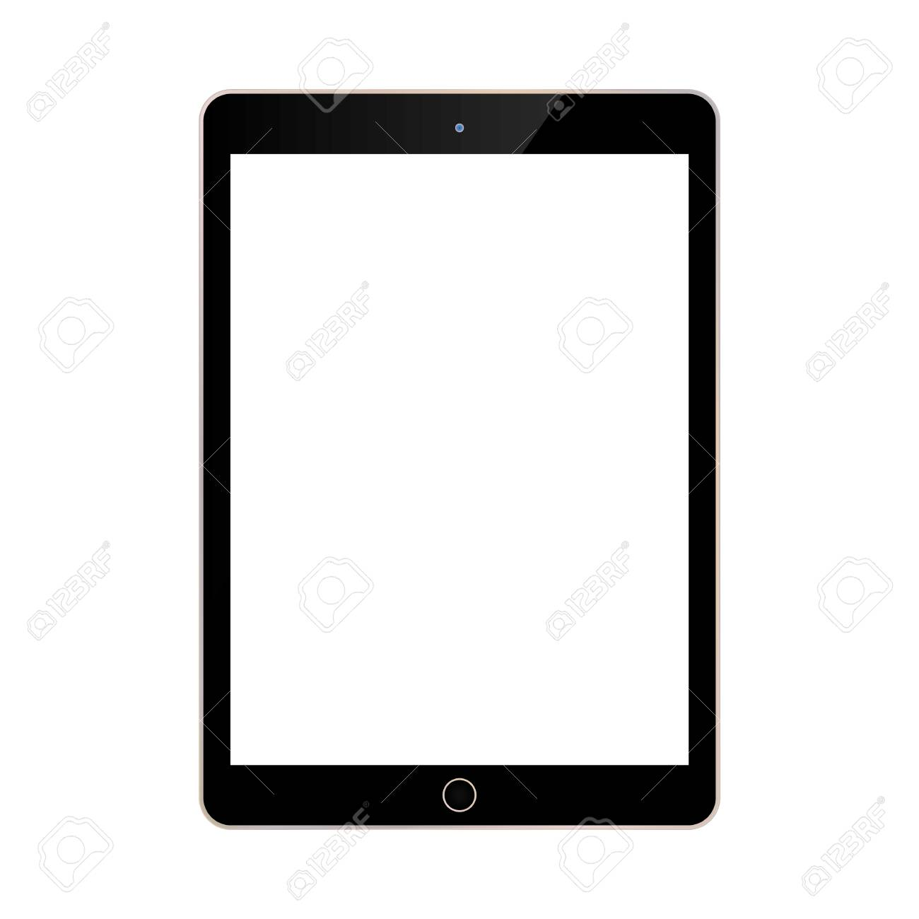 black tablet with white screen front view on blue background. - 121278675