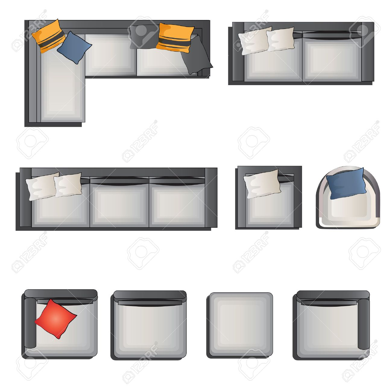 Sofa Top View Set 1 For Interior, Vector Illustration Royalty Free ...