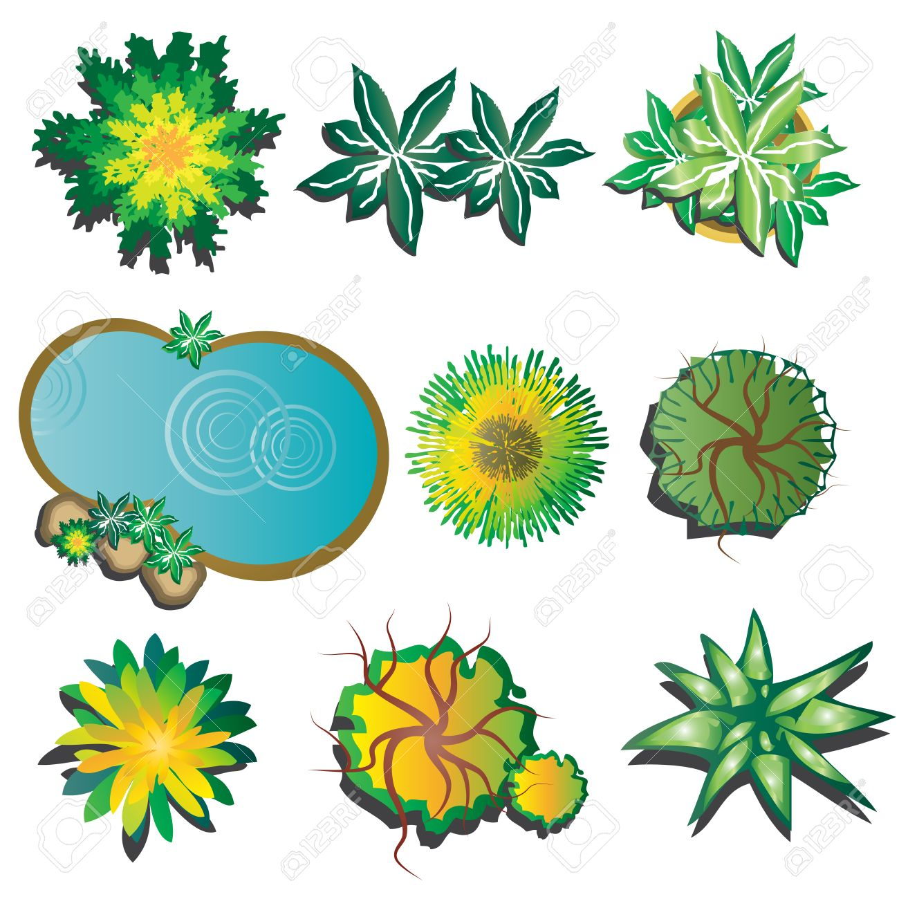 plants top view set 2 plants layout plan for landscape vector illustration stock vector