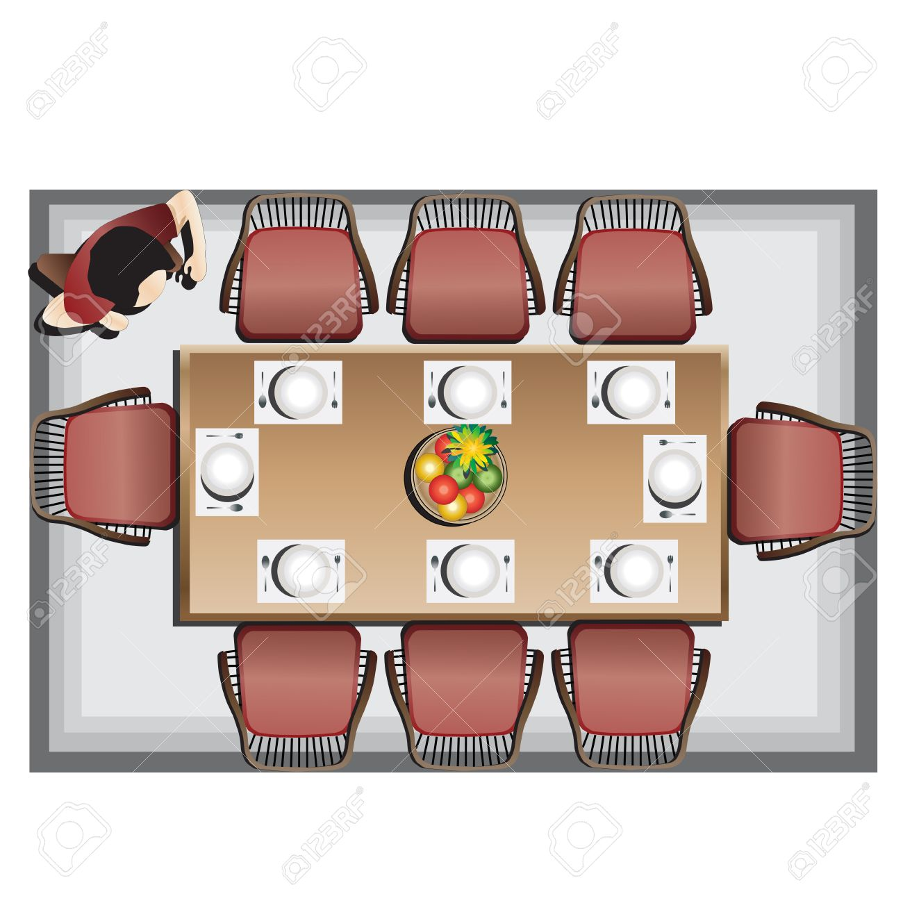 Dining furniture top view set 3 for interior, vector illustration - 45292898