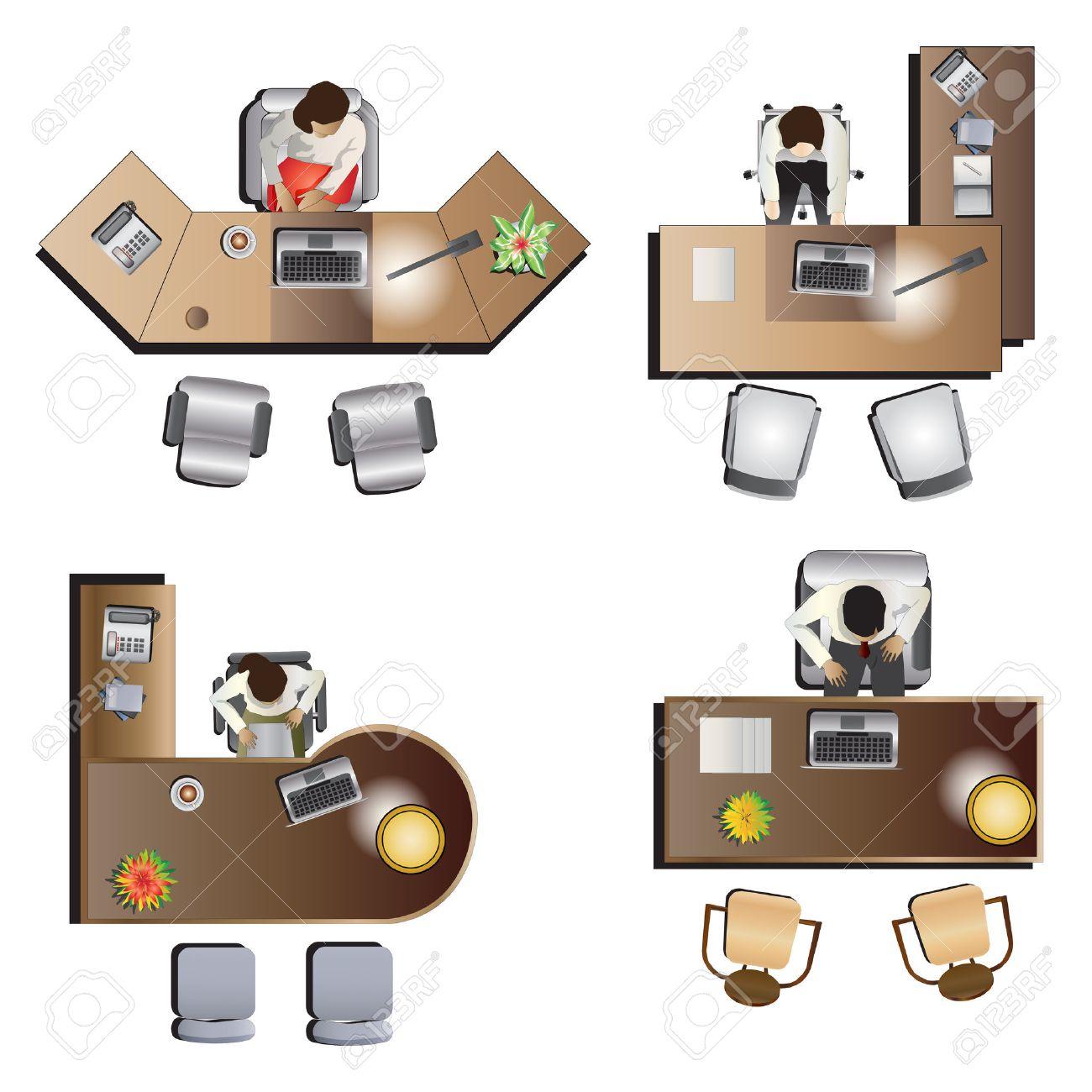 Vista Dall'alto Ufficio Mobili Impostato 6 Per Interni ...