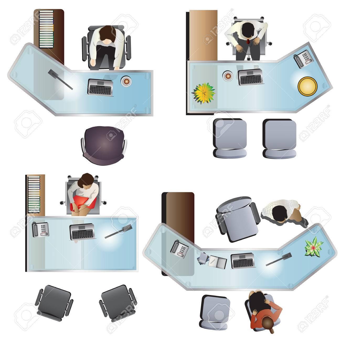 Office furniture top view - Office Furniture Top View Set 7 For Interior Vector Illustration Stock Vector 45841029