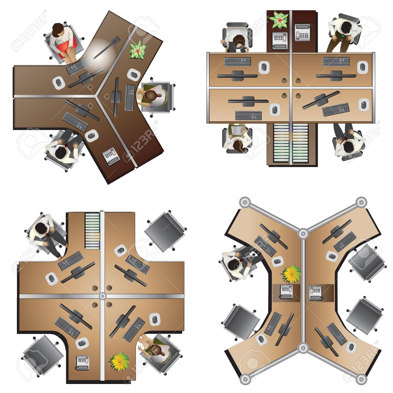 Office furniture top view - Office Furniture Top View Set 8 For Interior Vector Illustration Stock Vector 45840738