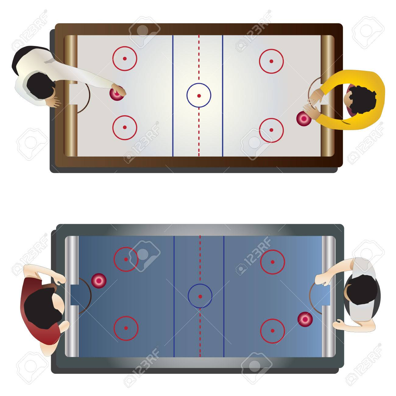 Game Room Hockey Table Top View For Interior Vector