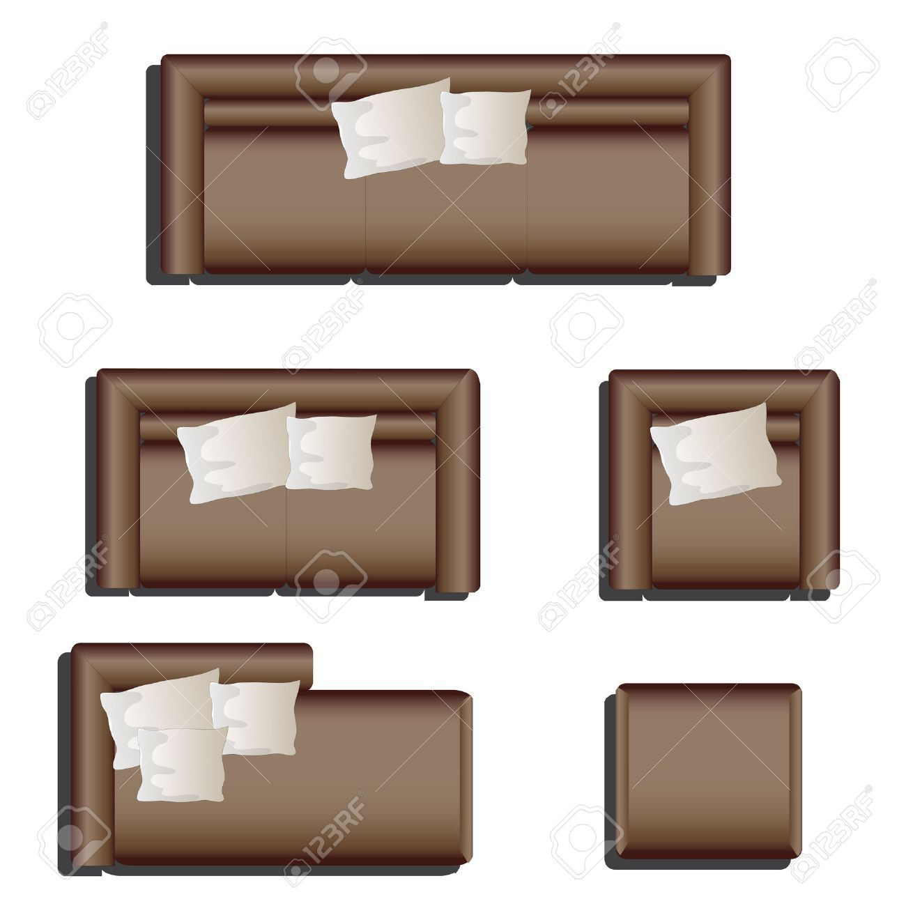 Furniture top view images - Furniture Top View Set 28 For Interior Vector Illustration Brown Sofa Stock Vector