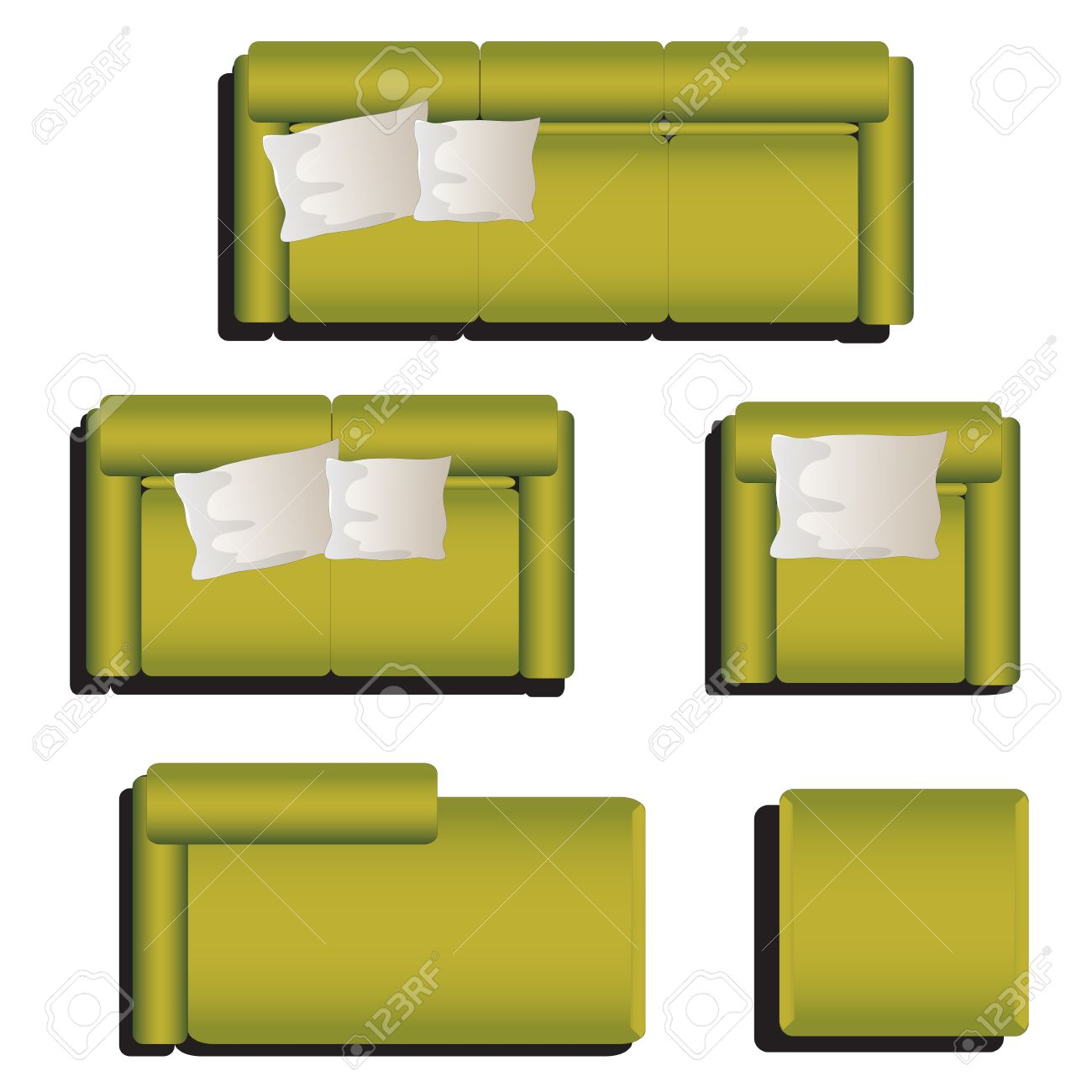 Furniture Top View Set 29 For Interior ,vector Illustration ...