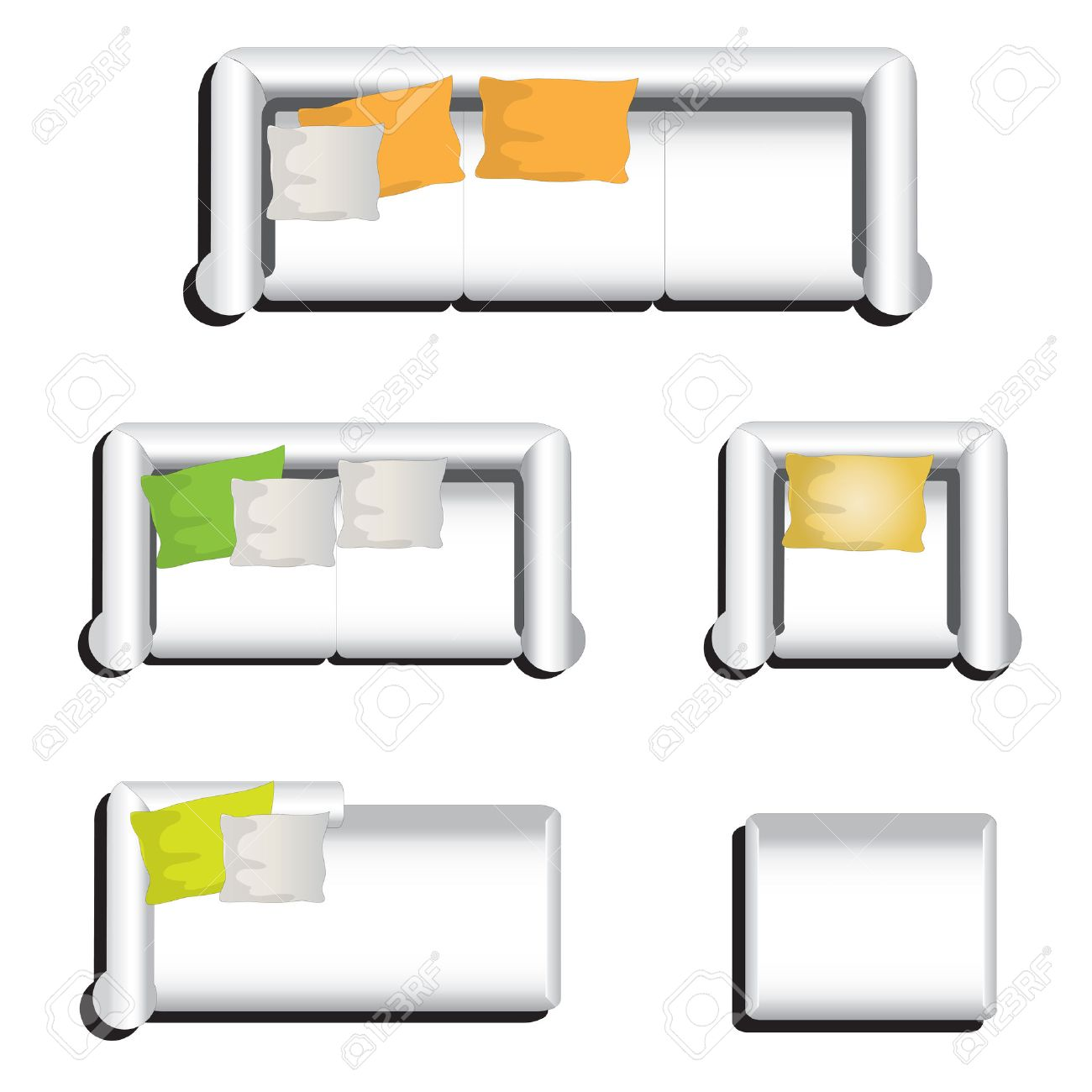 Furniture top view images - Furniture Top View Set 31 For Interior Vector Illustration White Sofa Stock Vector