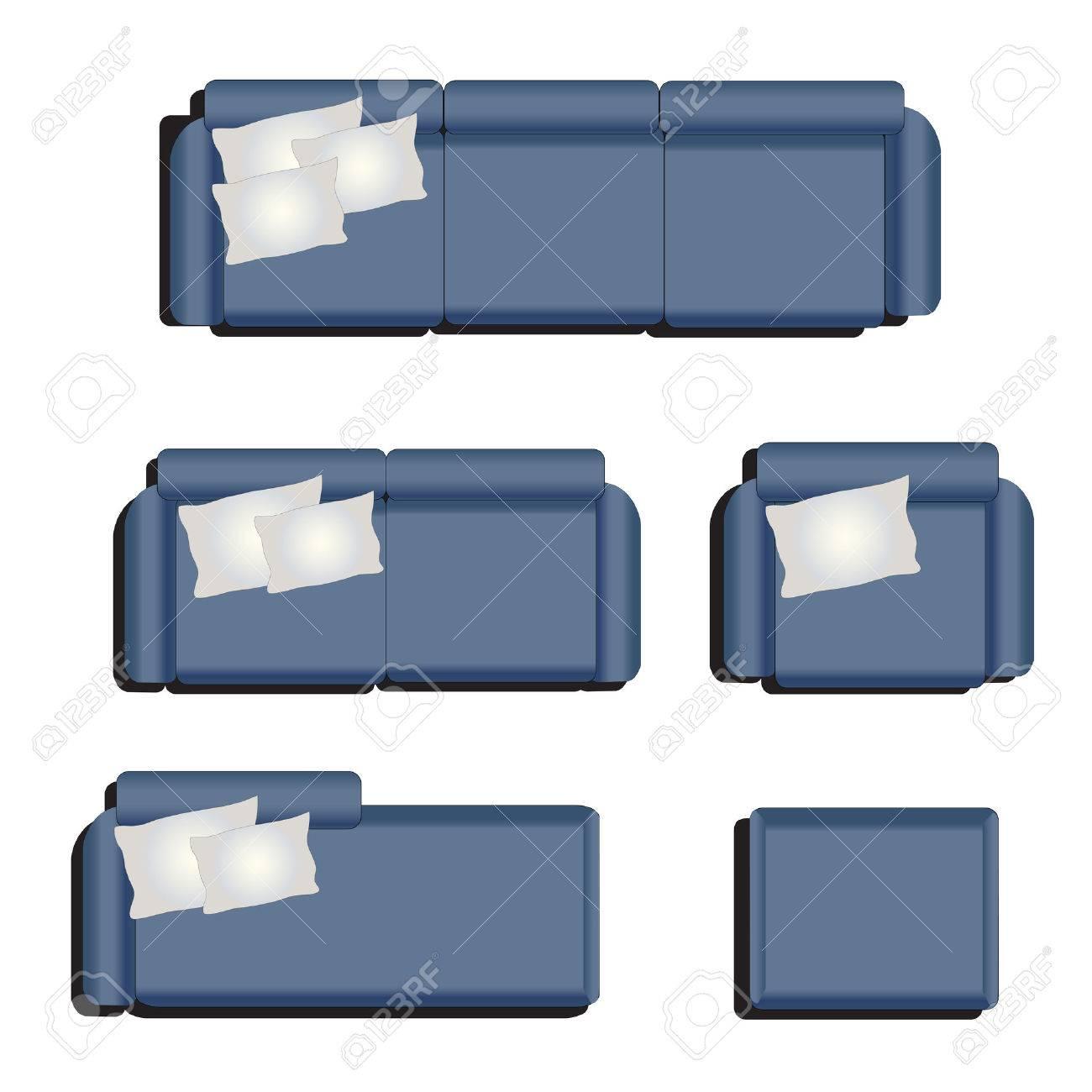 Möbel Draufsicht Satz 32 Für Innen, Vektor Illustration, Blauen Sofa  Standard Bild