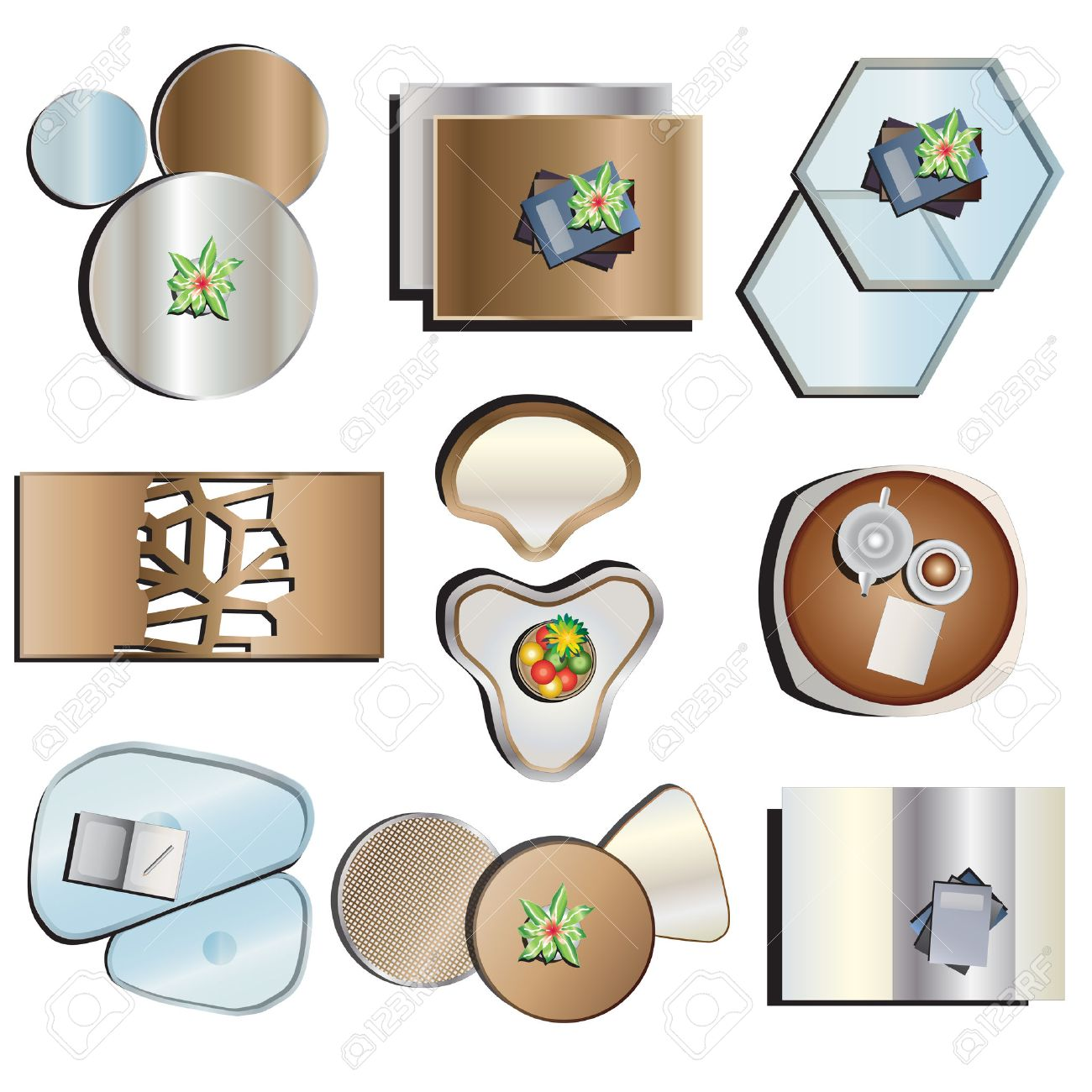 coffee table top view. Coffee Table Top View Set 2 For Interior,vector Illustration Stock Vector - 46074535 L