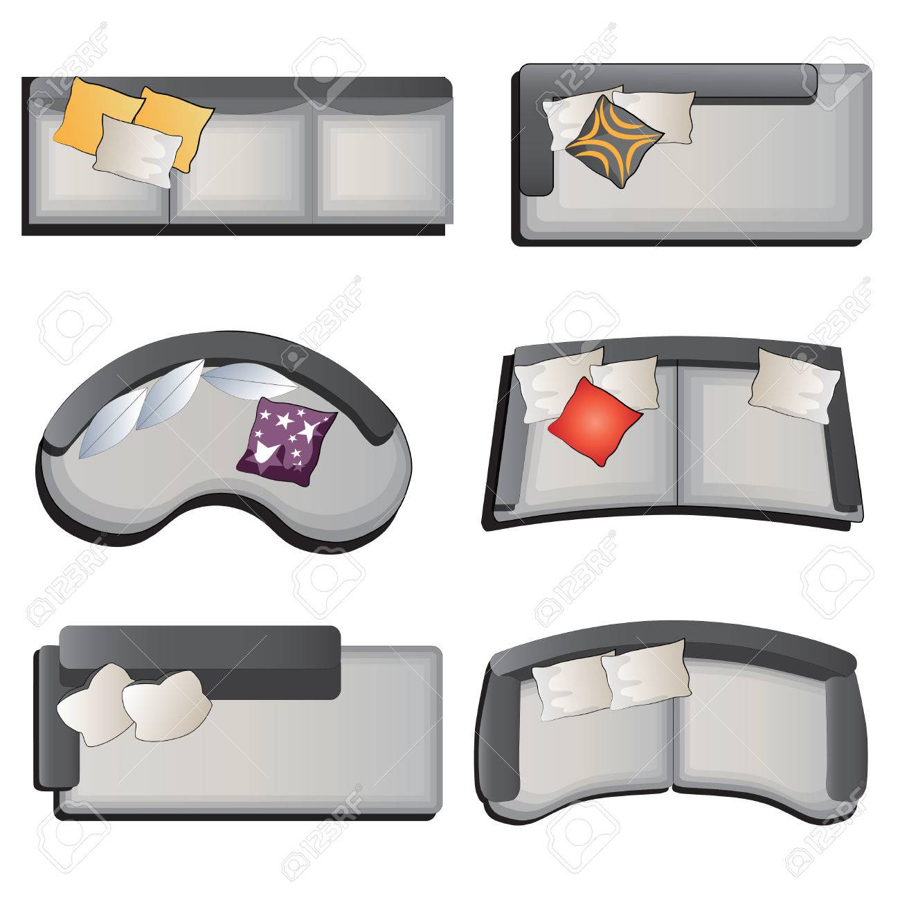 sofa top view set 3 for interior vector illustration royalty free