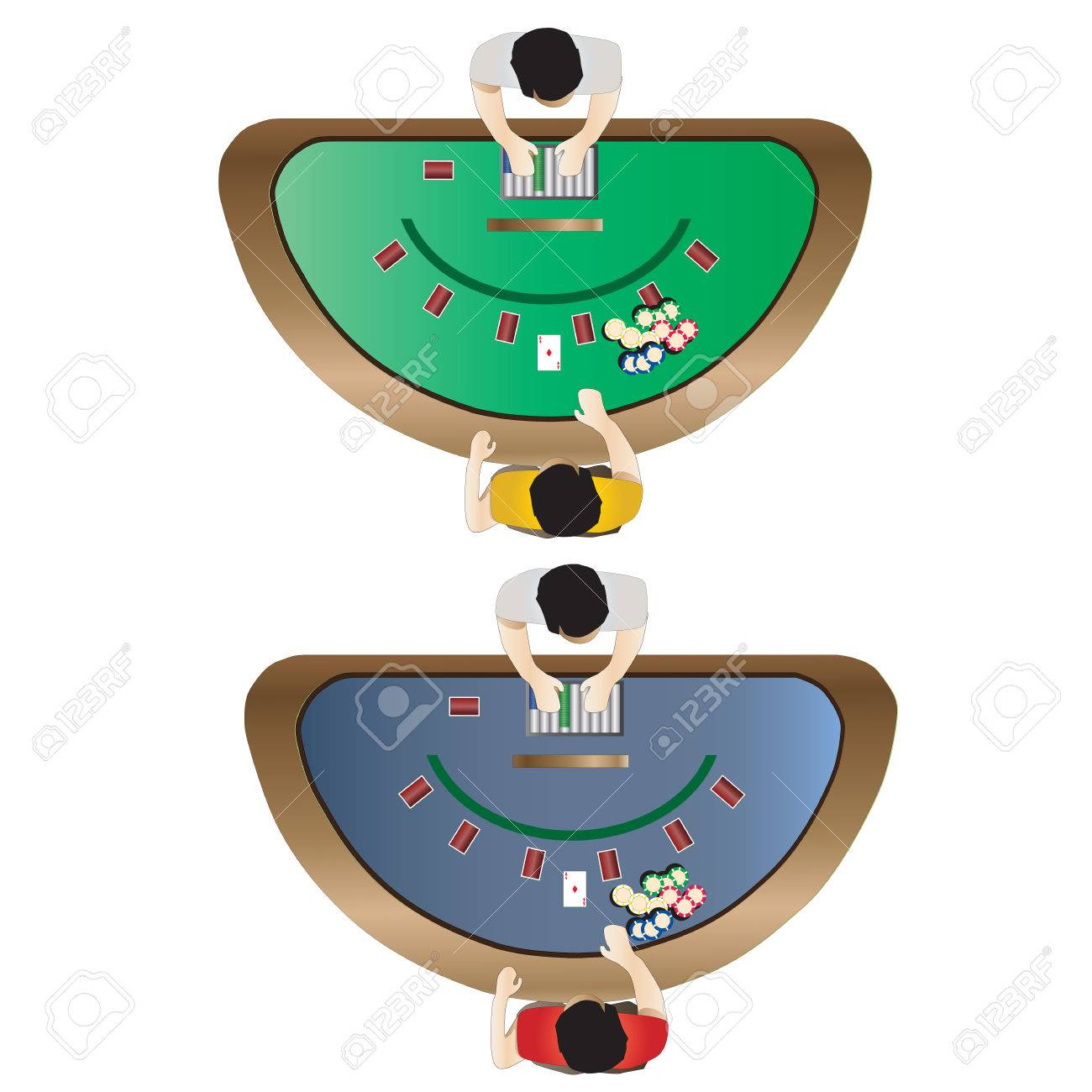 Blackjack table top view - Casino Furniture Blackjack Table Top View Set 3 For Interior Vector Illustration Stock Vector