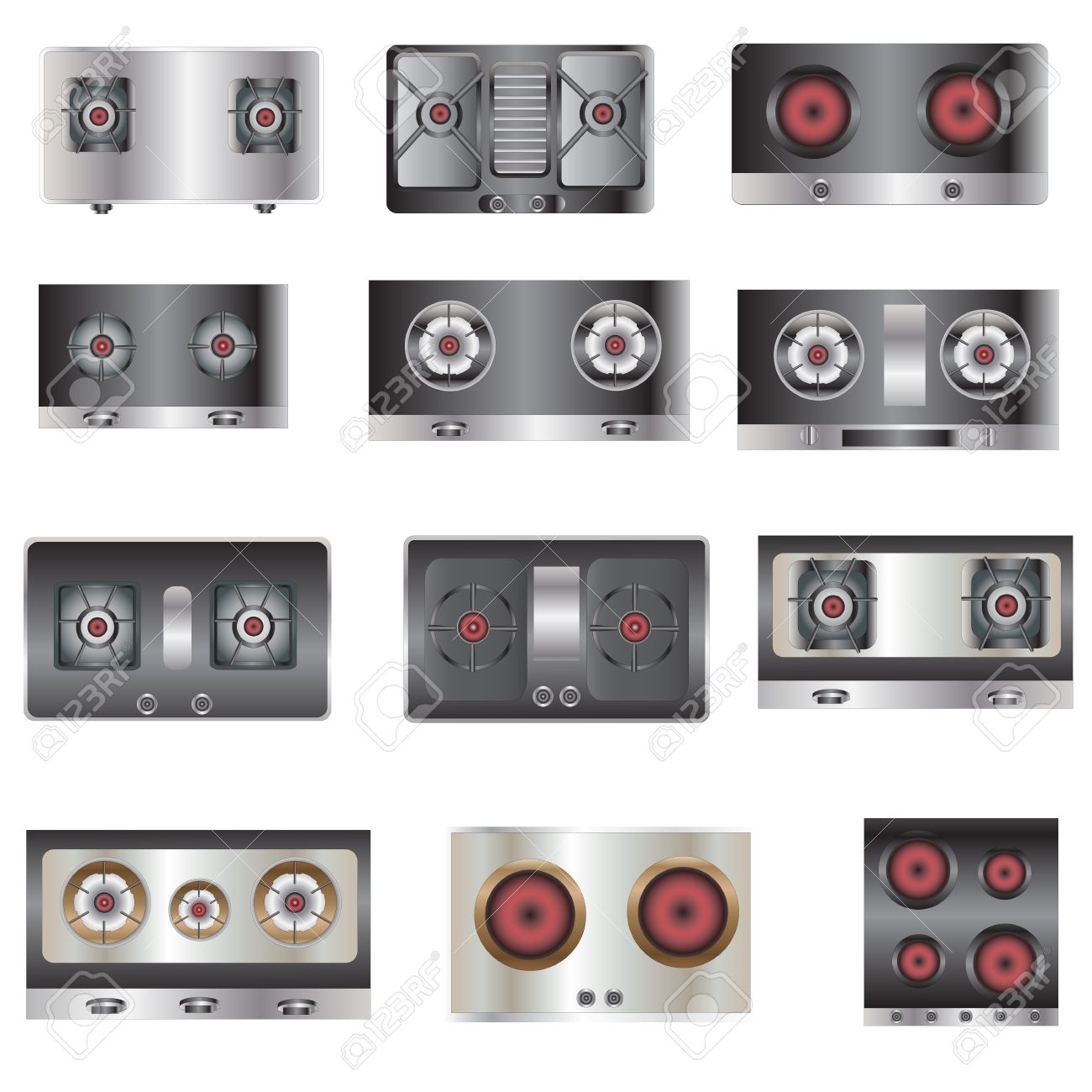 Kitchen Equipment Gas Stove Top View Set 5 For Interior Vector