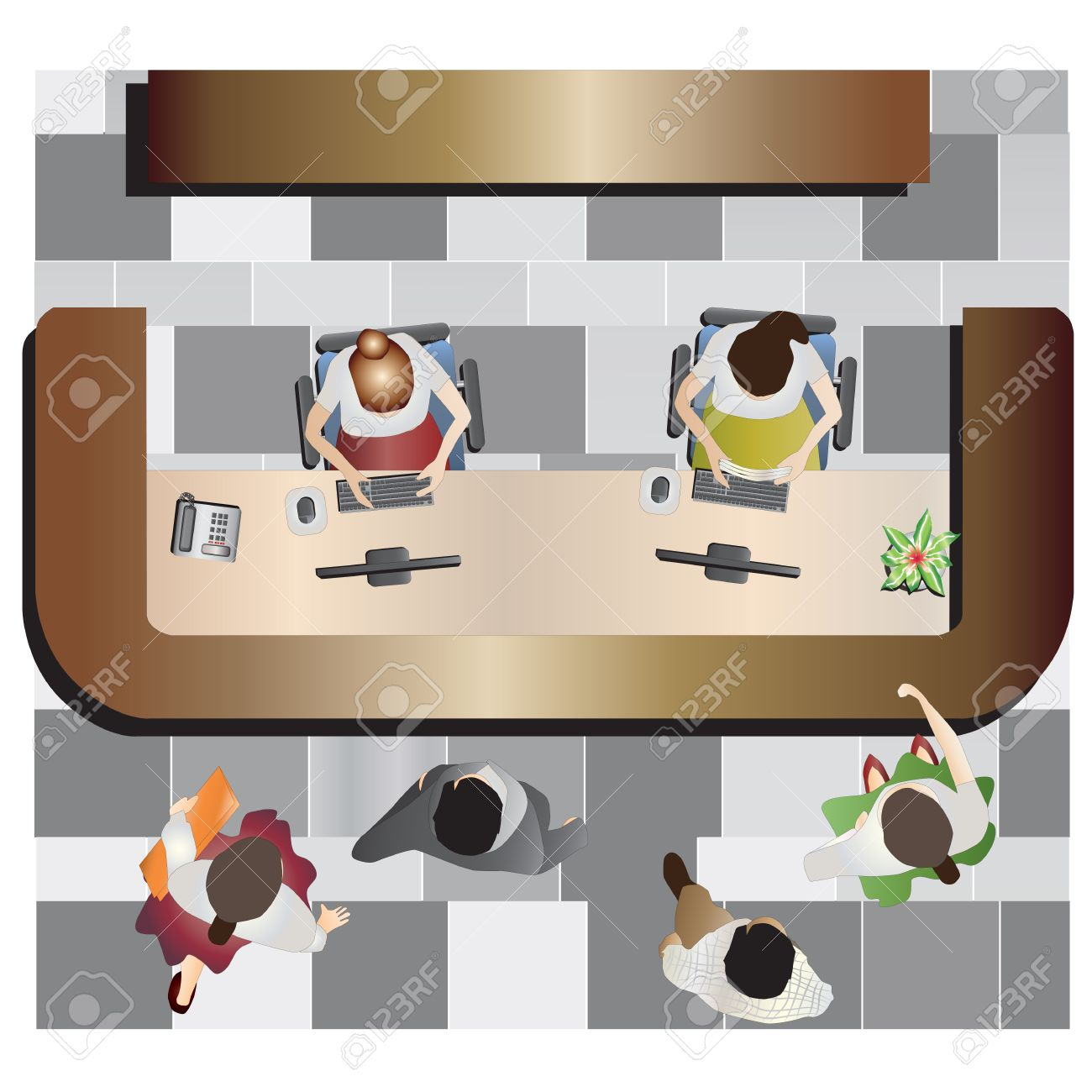 Office furniture top view - Office Furniture Reception Top View Set 13 For Interior Vector Illustration Stock Vector