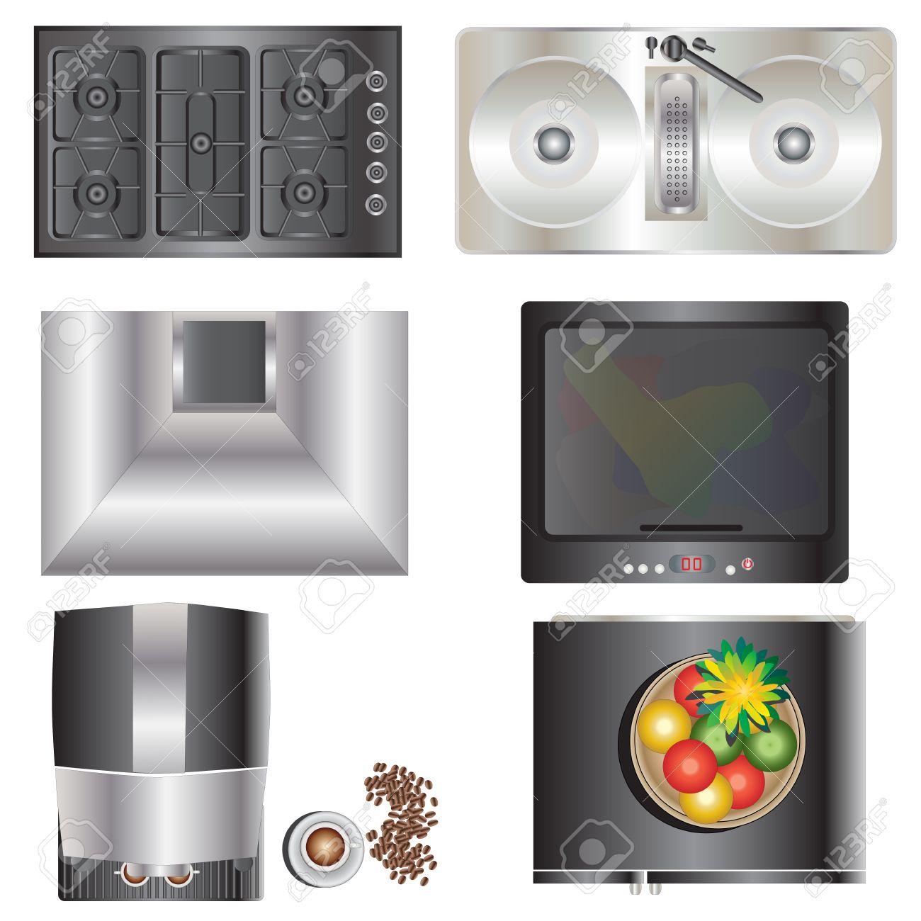 Kitchen Equipment Top View Set 9 For Interior , Vector Illustration ...