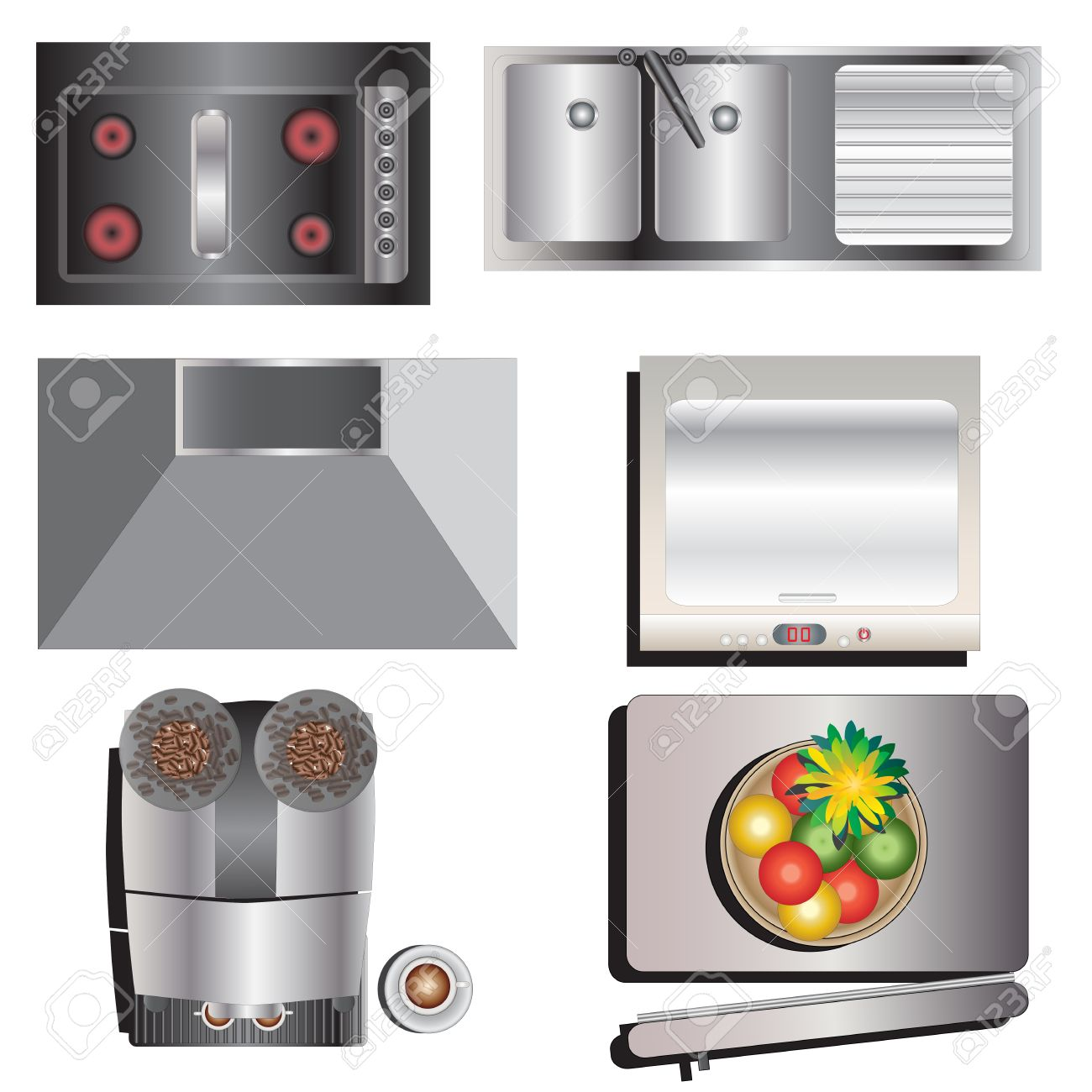 Kitchen Equipment Top View Set 7 For Interior Vector Illustration