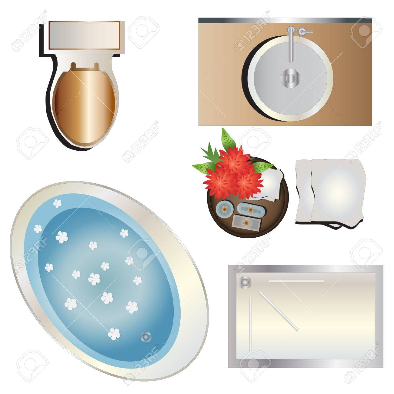 Bathroom Top View Set 6 For Interior Vector Illustration Stock
