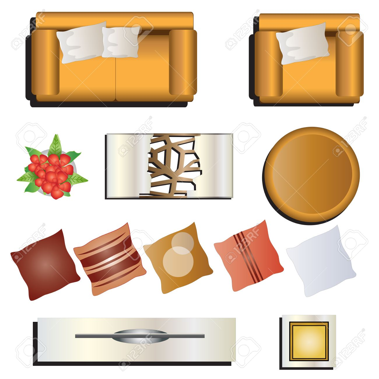 Furniture top view images - Living Room Furniture Top View Set 7 For Interior Vector Illustration Stock Vector 48755775