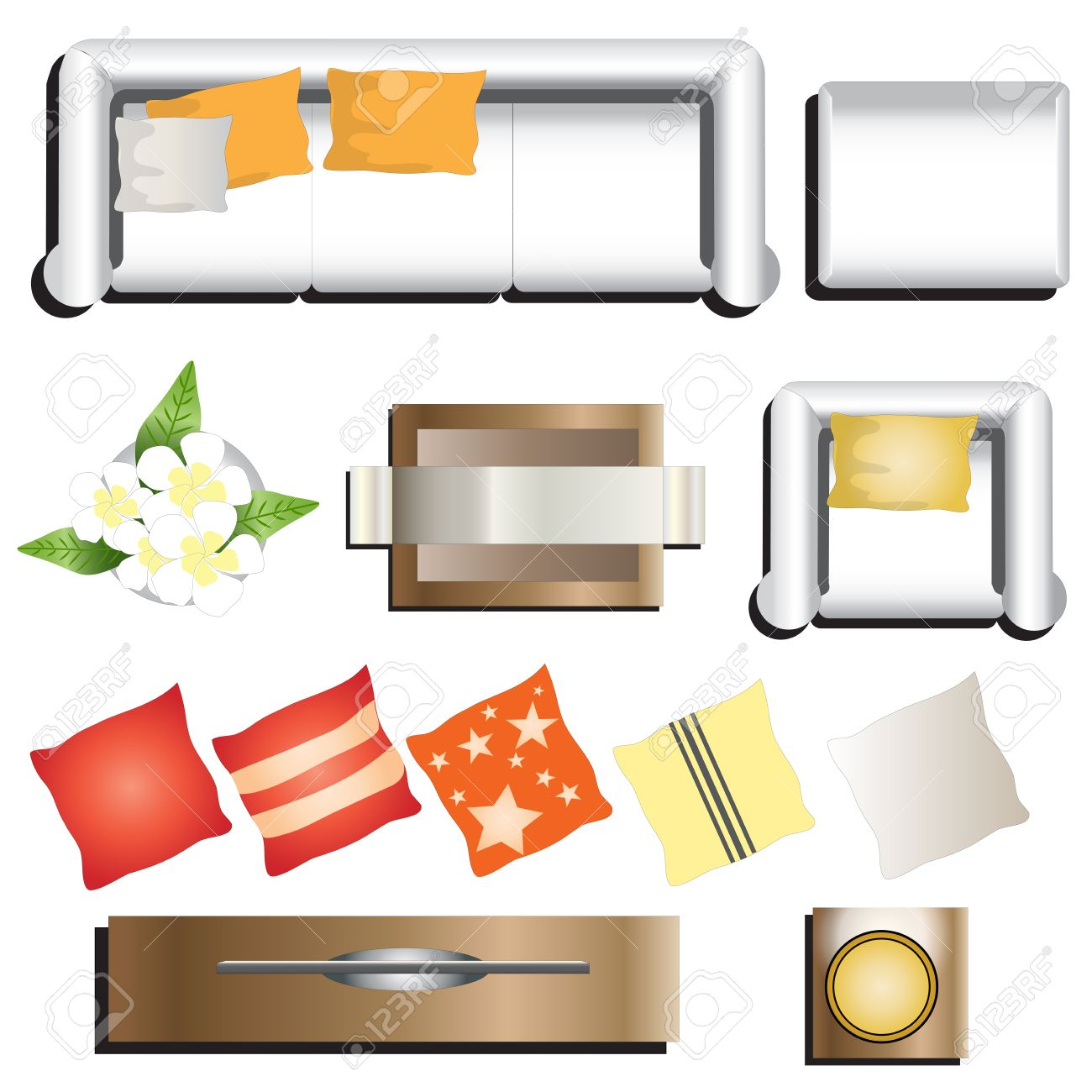 Furniture top view images - Living Room Furniture Top View Set 11 For Interior Vector Illustration Stock Vector 48755777