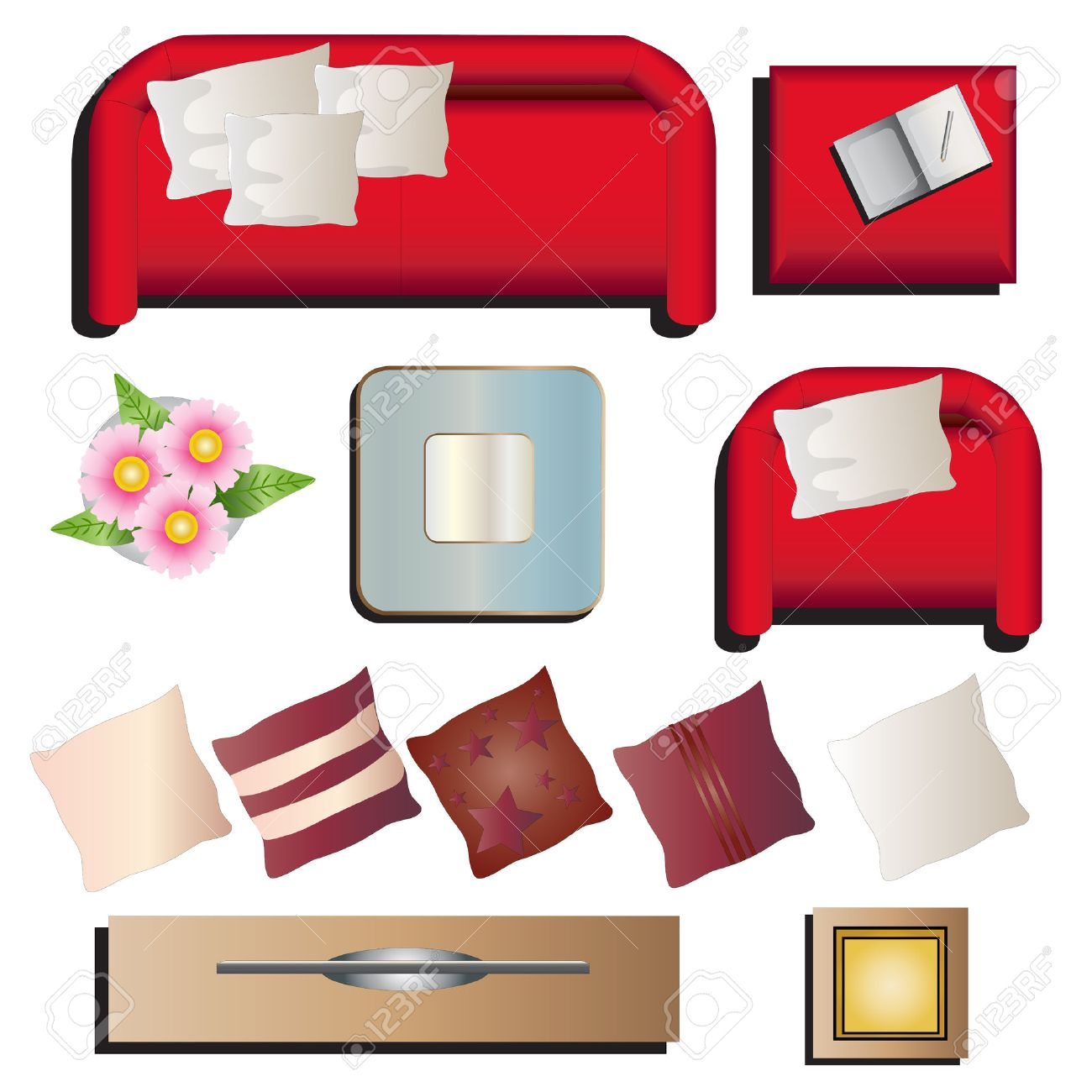 Living Room Furniture Clipart Top View Set 10 For Interior Vector Illustration Stock 48755778