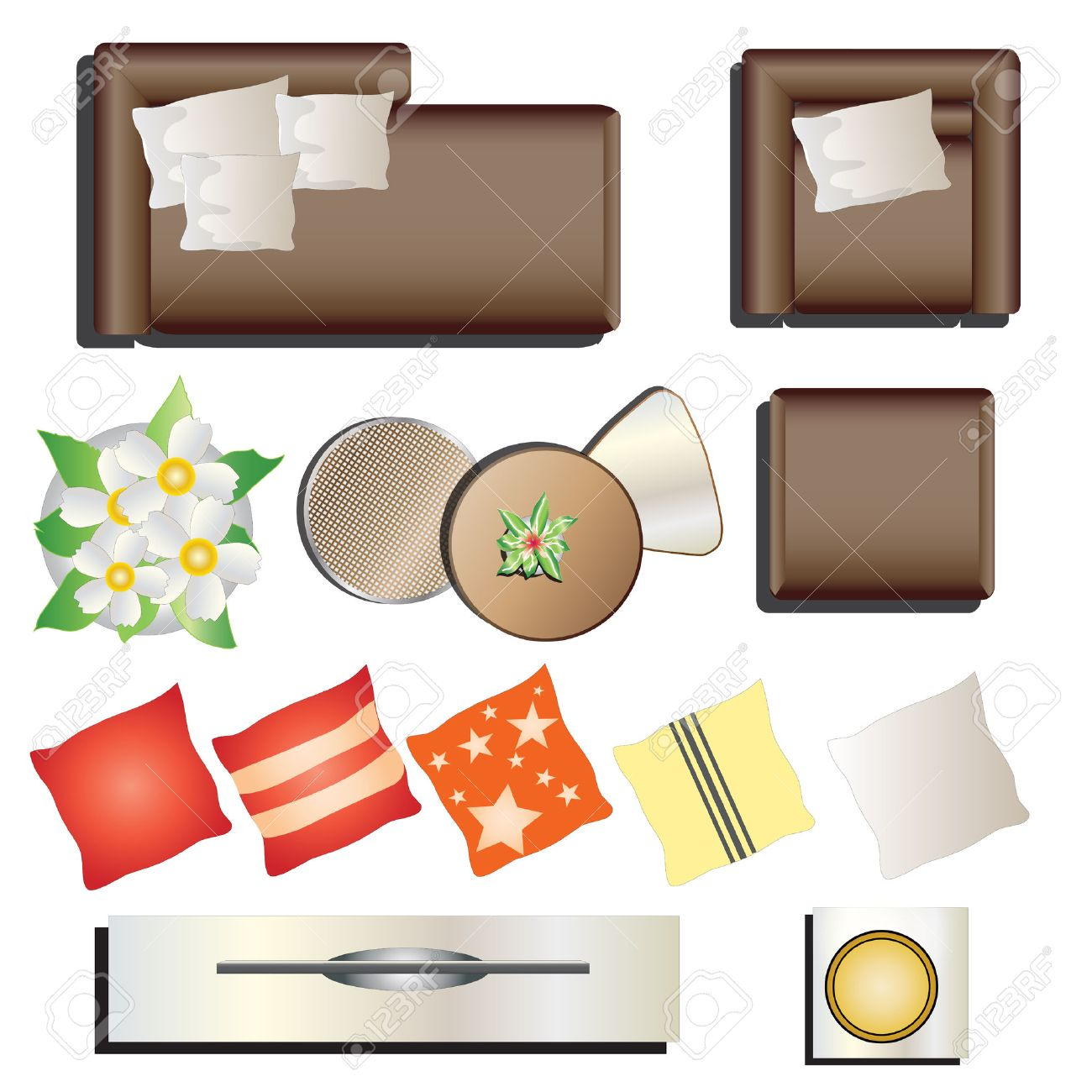 Furniture top view images - Living Room Furniture Top View Set 12 For Interior Vector Illustration Stock Vector 48755780