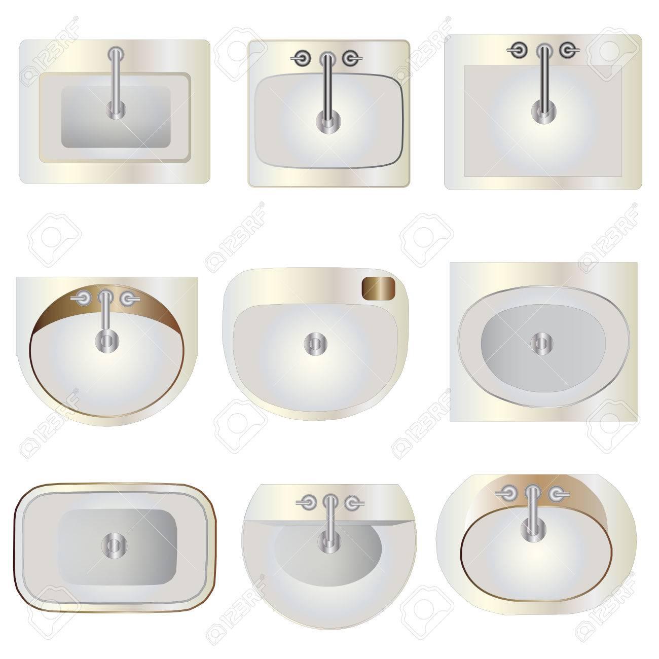 Bathroom Wash Basin Set 9 Top View For Interior Vector